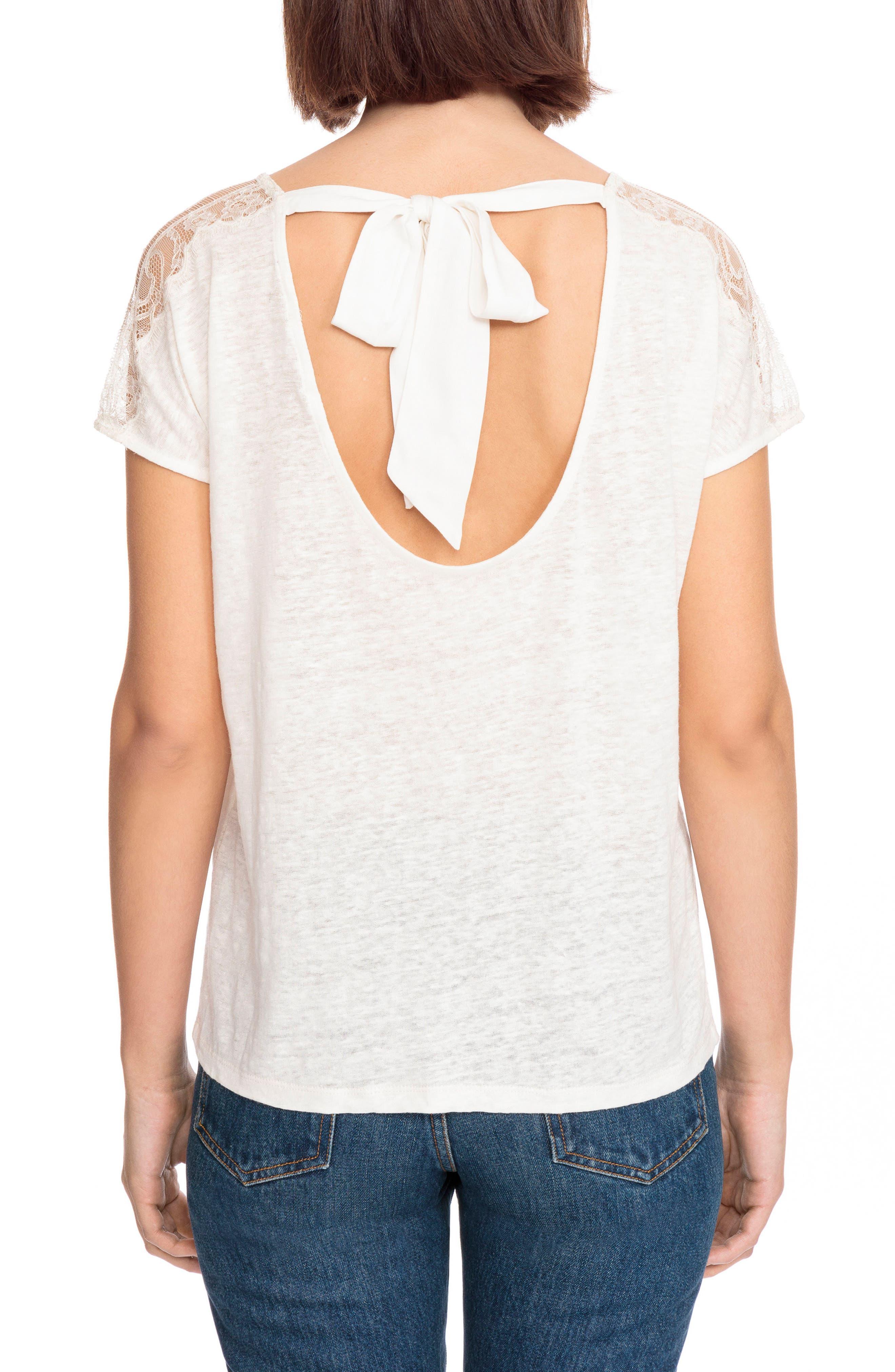 Livia Lace Shoulder Back Tie Linen Tee,                             Alternate thumbnail 3, color,                             Off White