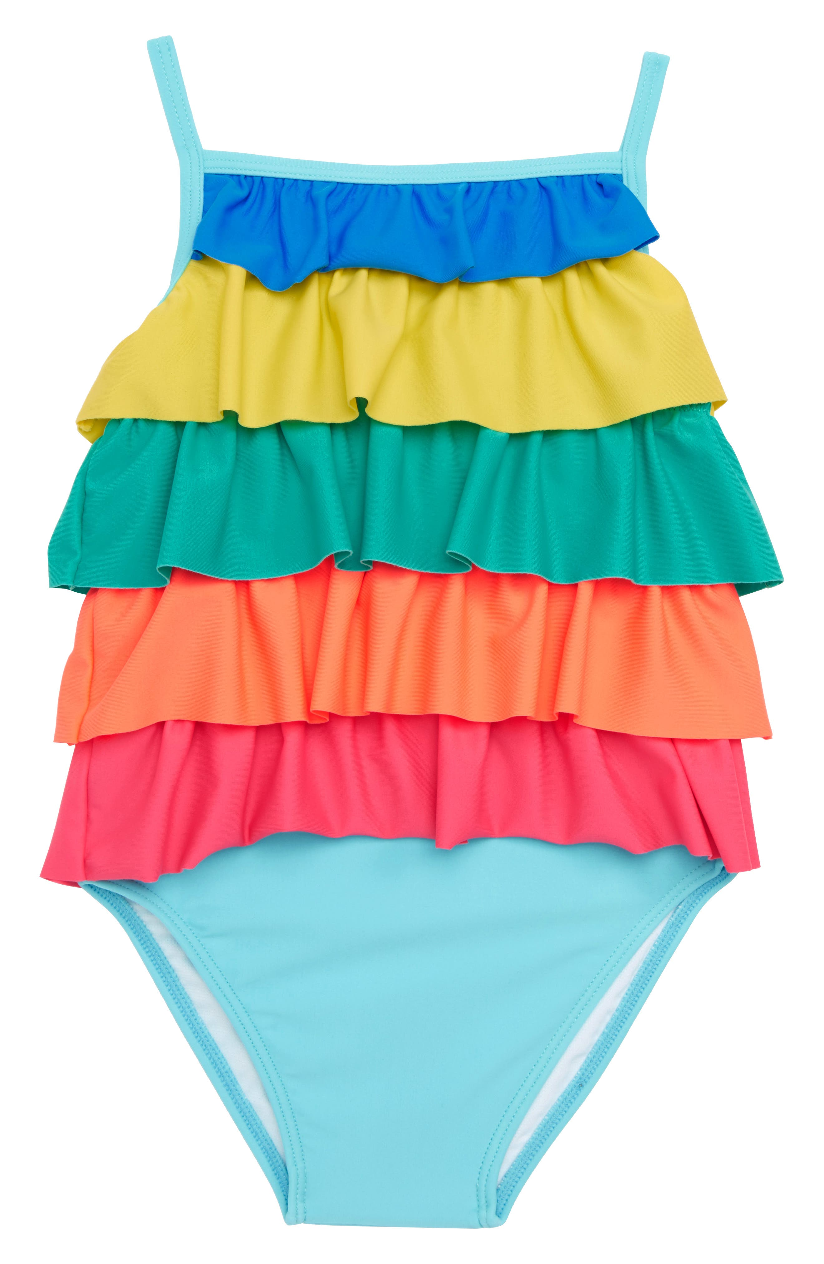Frilly One-Piece Swimsuit,                             Main thumbnail 1, color,                             Light Blue Rainbow