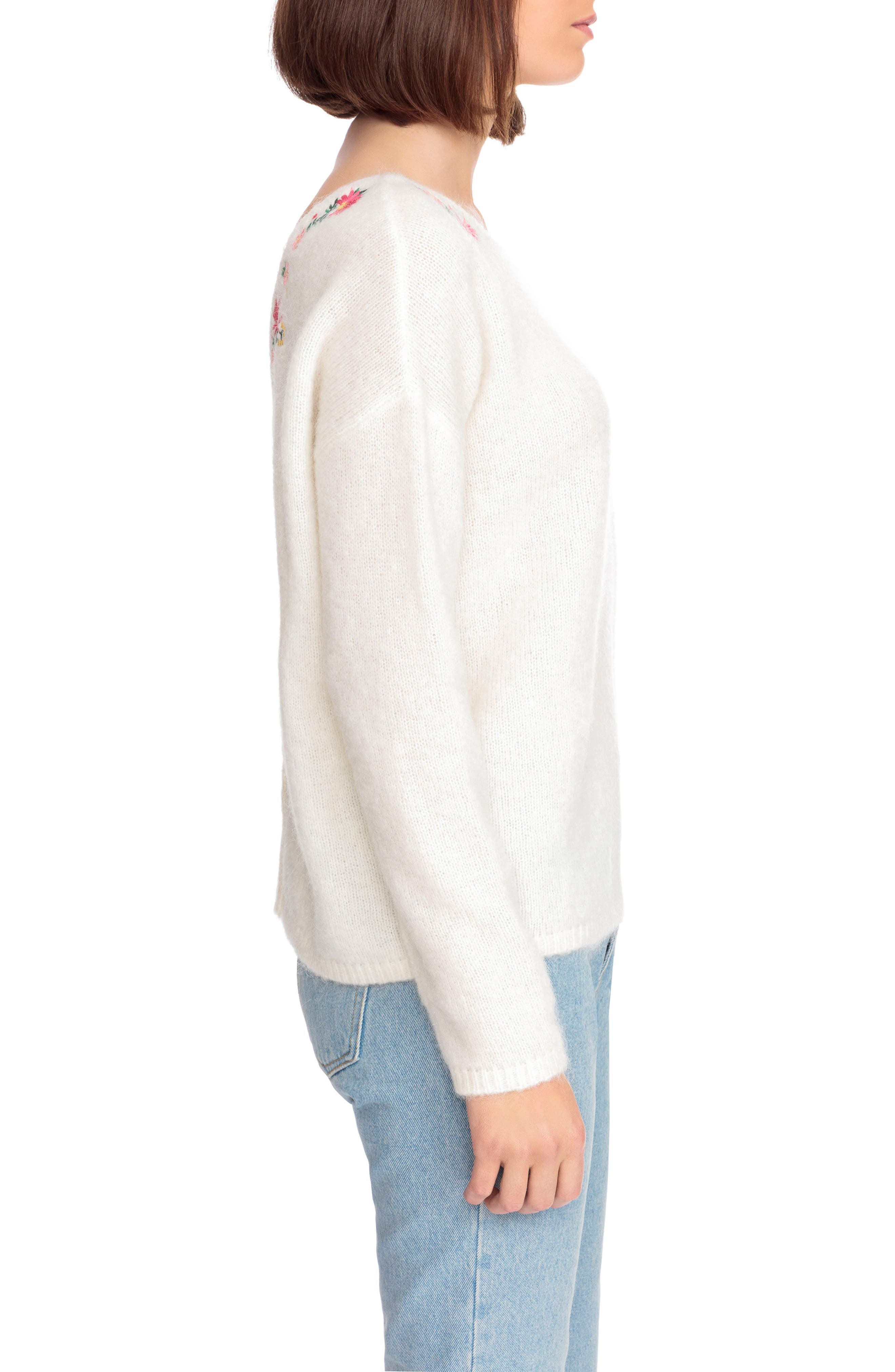 Cassiopee Embroidered Sweater,                             Alternate thumbnail 4, color,                             Off White