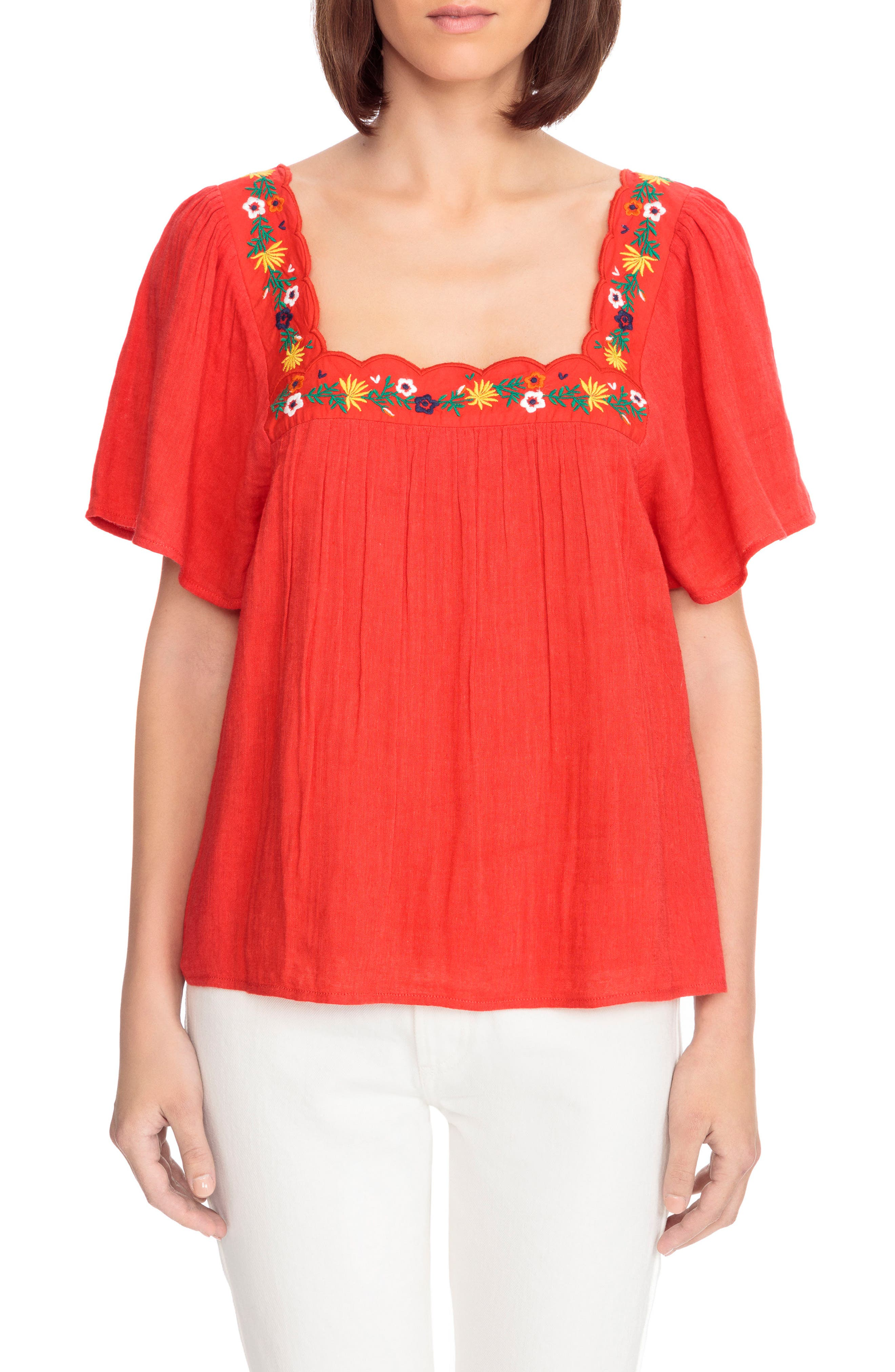 Bea Scalloped Top,                         Main,                         color, Coral Red