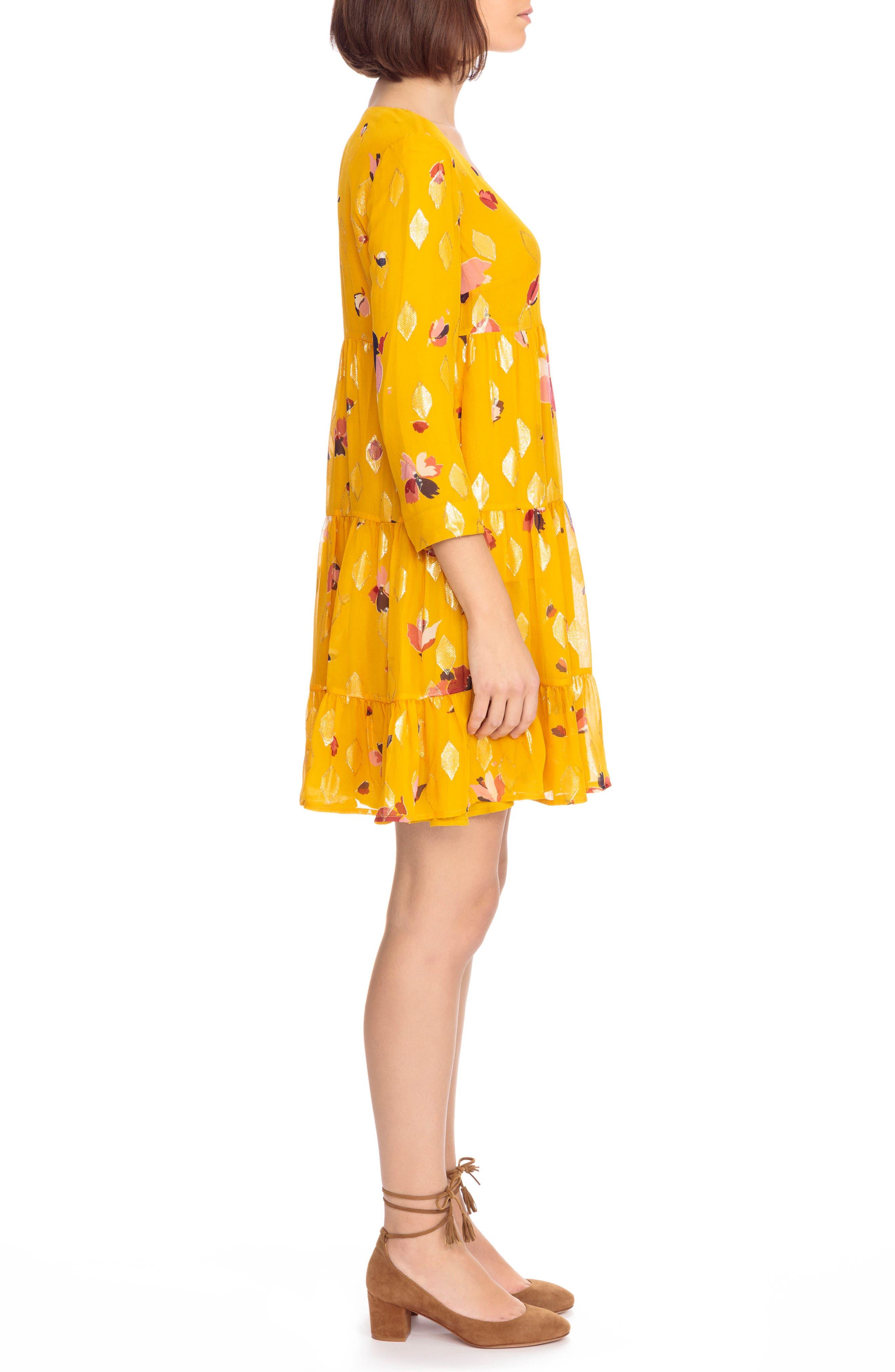 Aure Silk A-Line Dress,                             Alternate thumbnail 4, color,                             Big Flowers 60S On Saffron