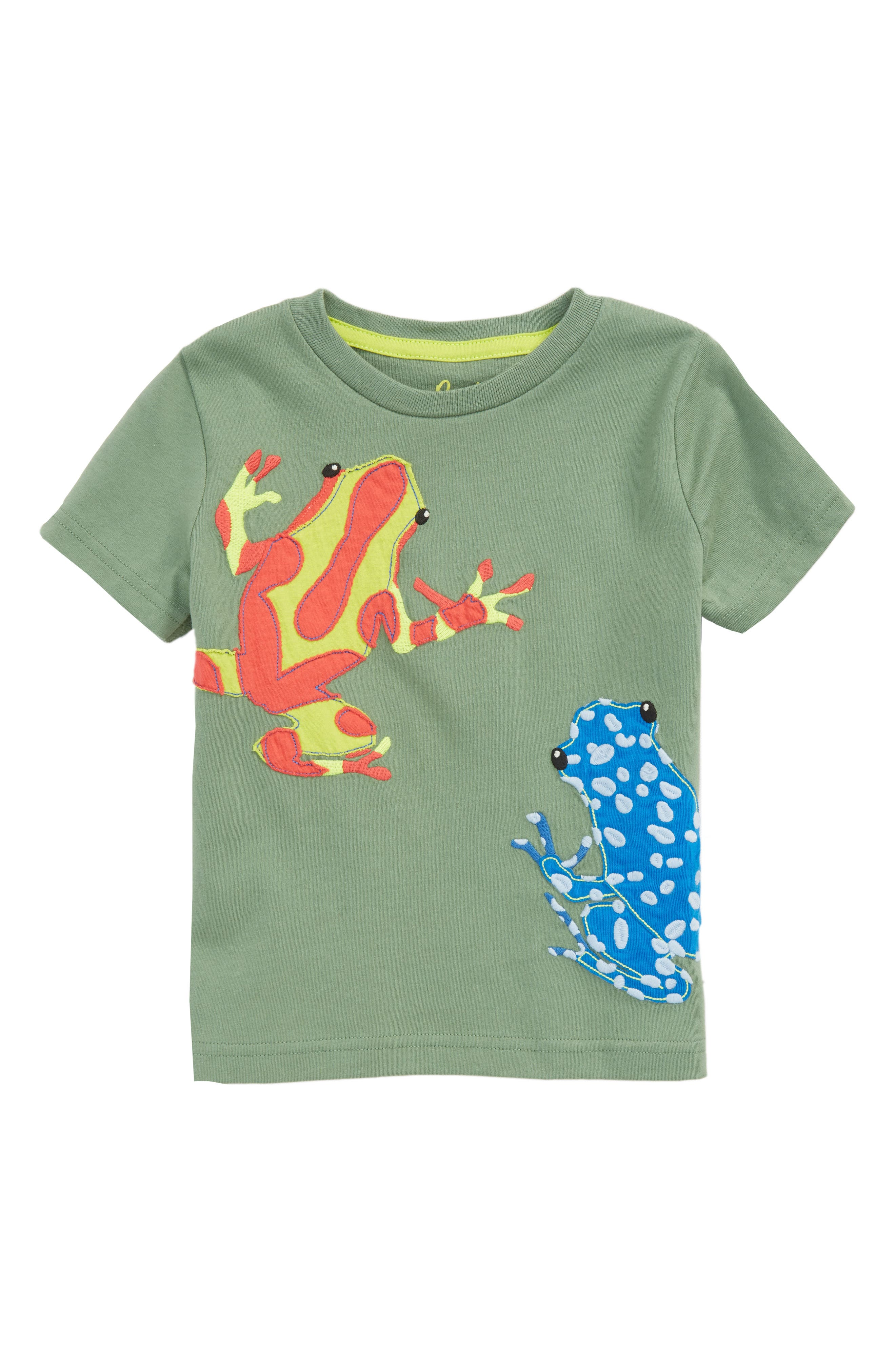Frogs Appliqué T-Shirt,                             Main thumbnail 1, color,                             Bamboo Green Frogs