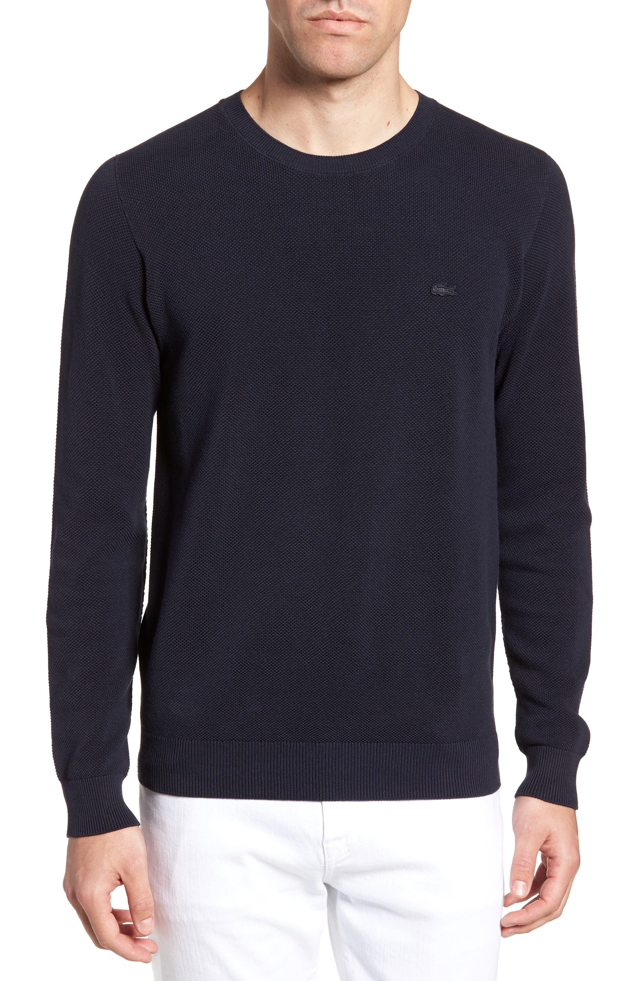 Piqué Cotton Sweater,                         Main,                         color, Dark Navy Blue