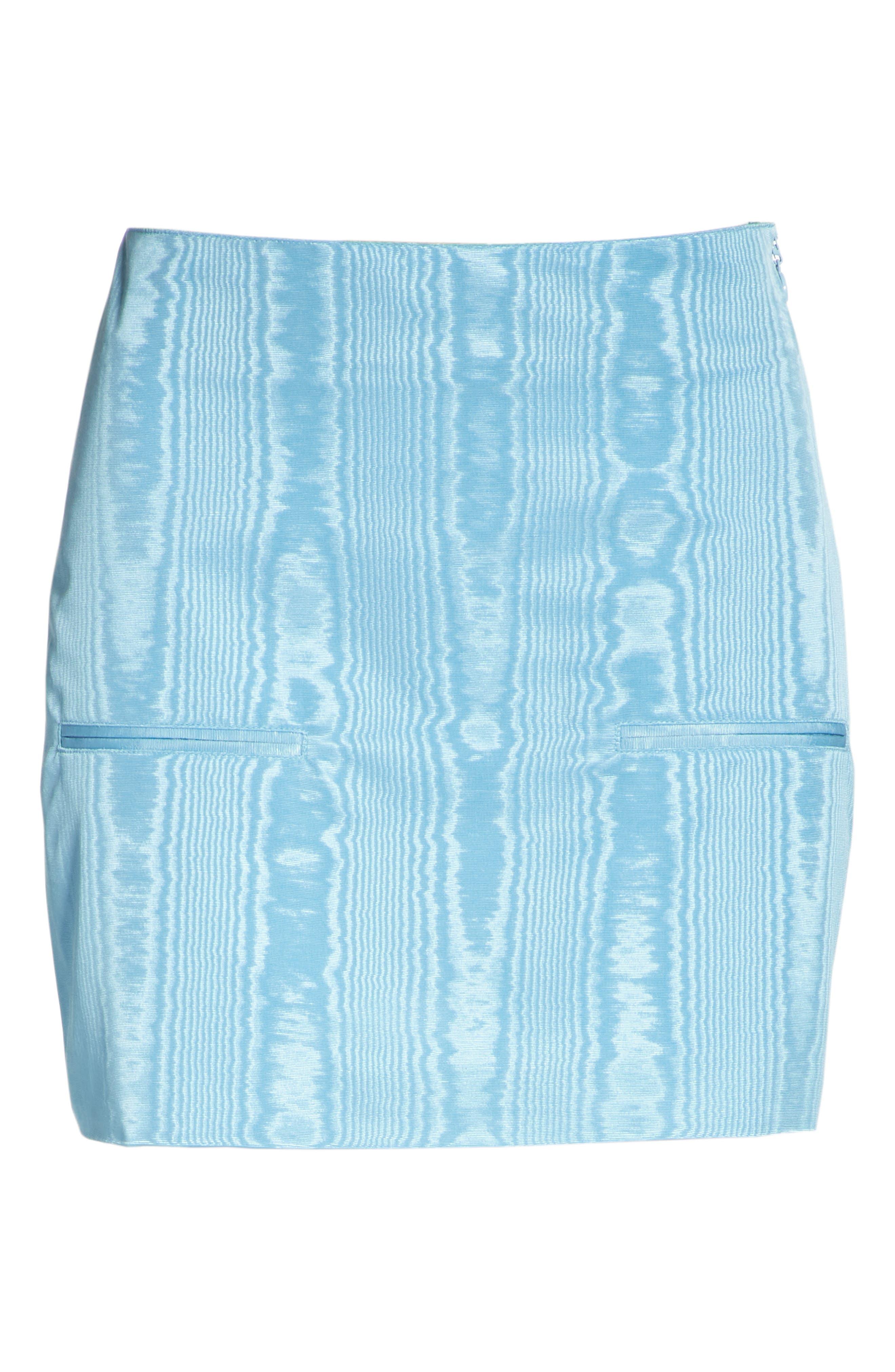 Moiré Miniskirt,                             Alternate thumbnail 6, color,                             Blue