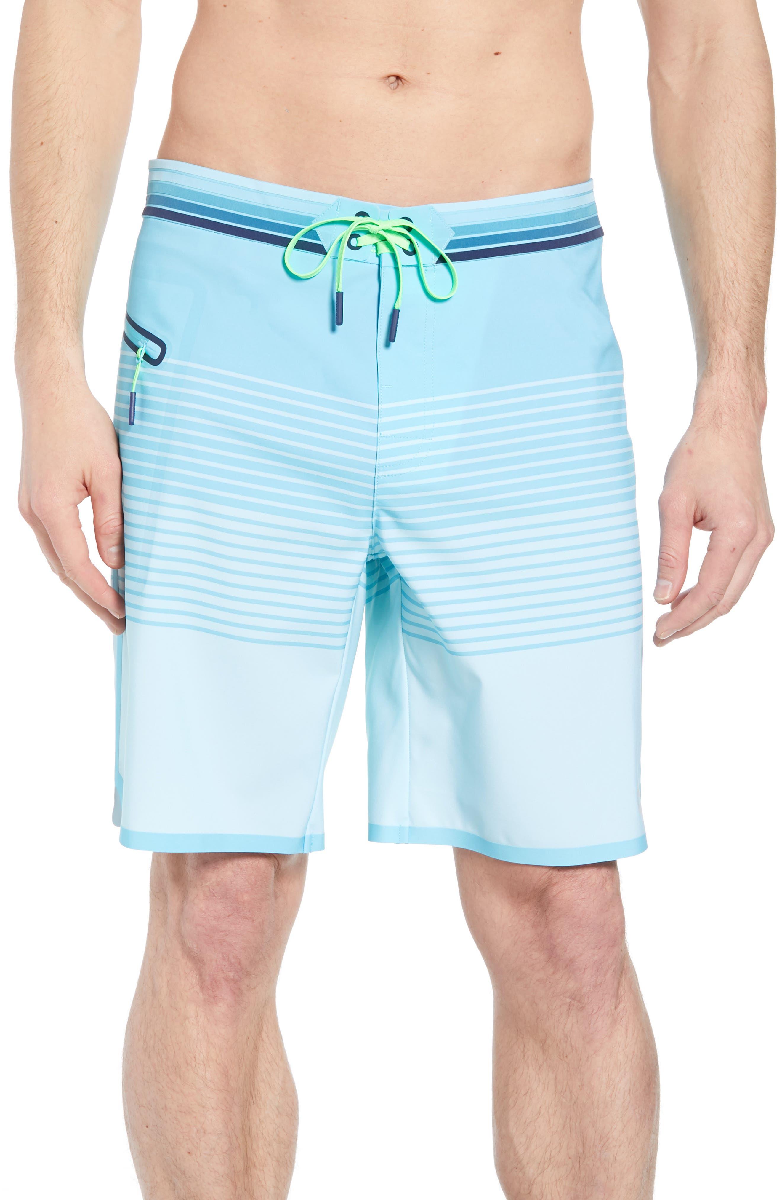 Sculplin Stripe Tech Board Shorts,                         Main,                         color, Turquoise
