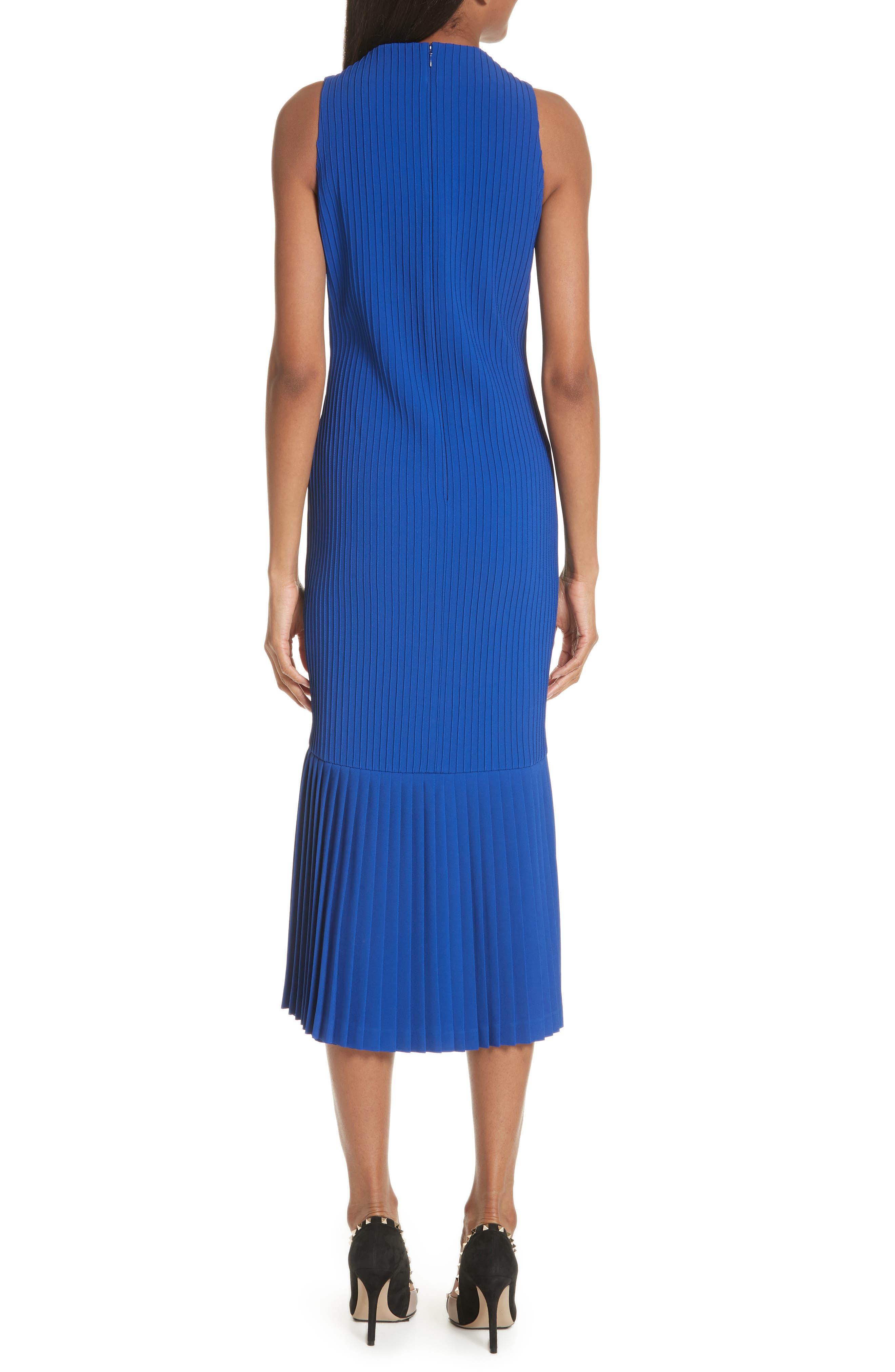 Pintuck Flare Hem Dress,                             Alternate thumbnail 2, color,                             Cobalt