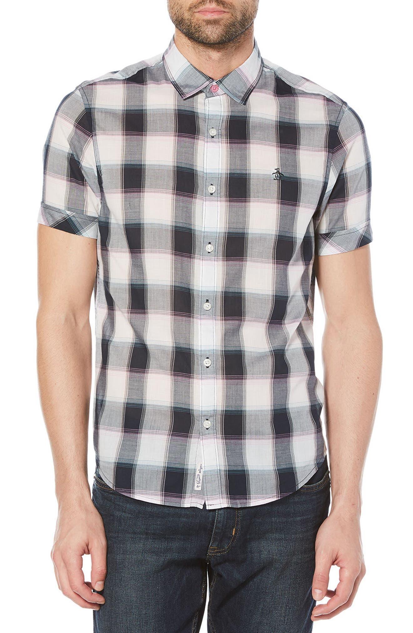 Plaid Cotton Lawn Shirt,                         Main,                         color, Dark Sapphire