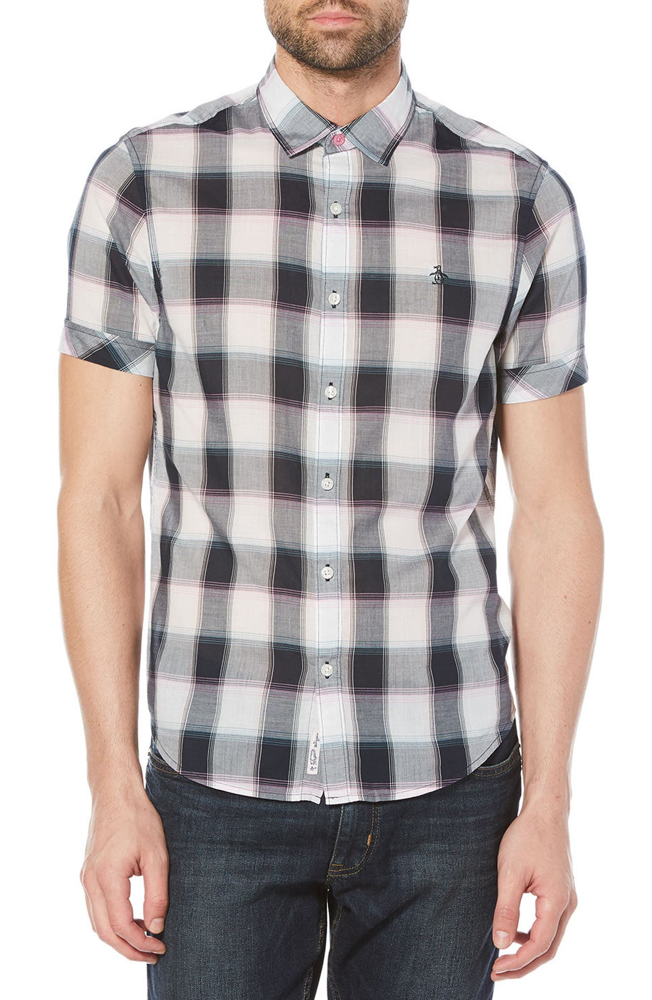 Original Penguin Plaid Cotton Lawn Shirt