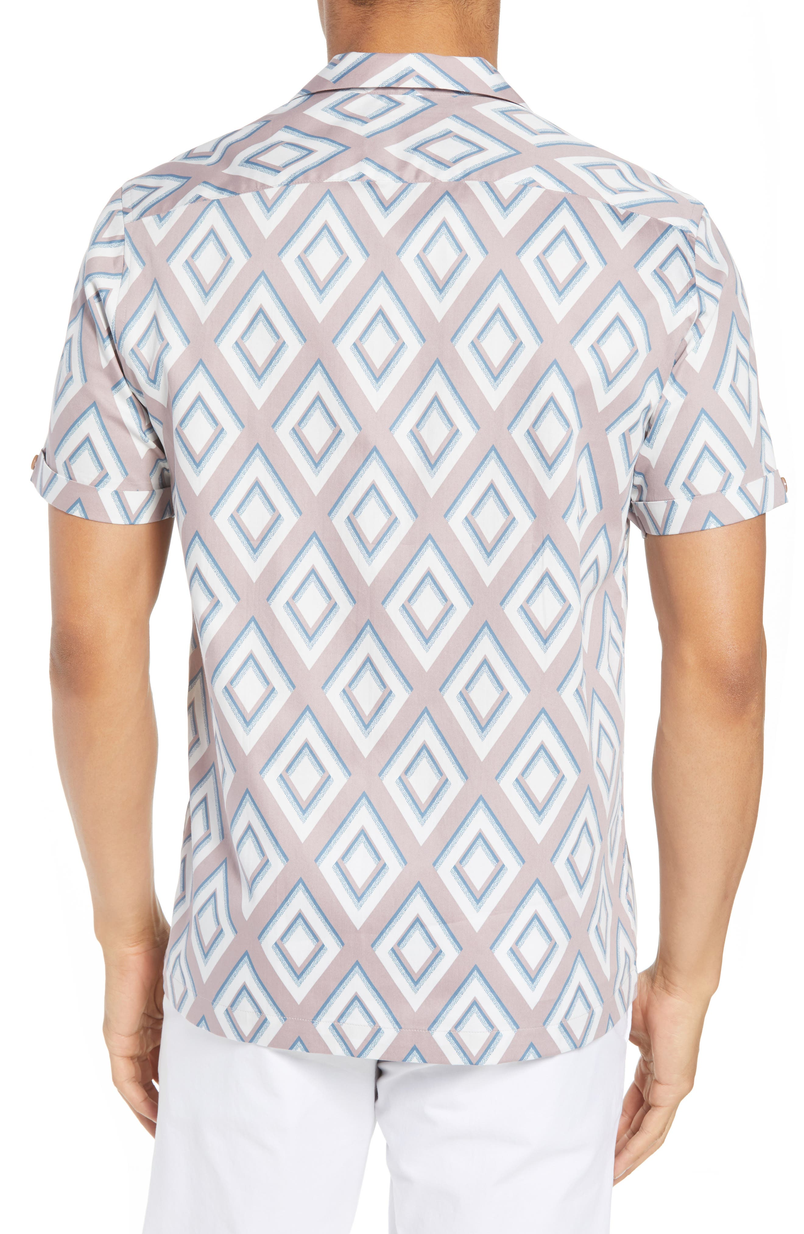 Slim Fit Diamond Print Sport Shirt,                             Alternate thumbnail 3, color,                             Light Pink