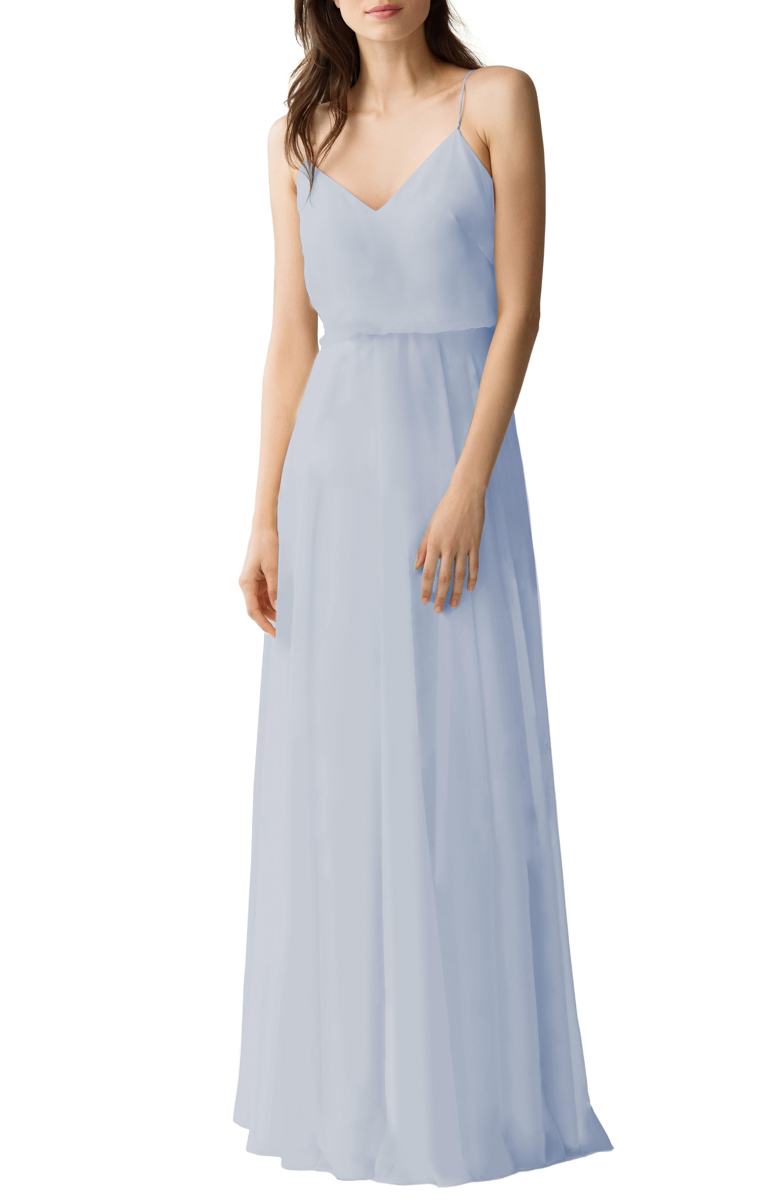 JENNY YOO Inesse Chiffon V-Neck Spaghetti Strap Gown in Whisper Blue