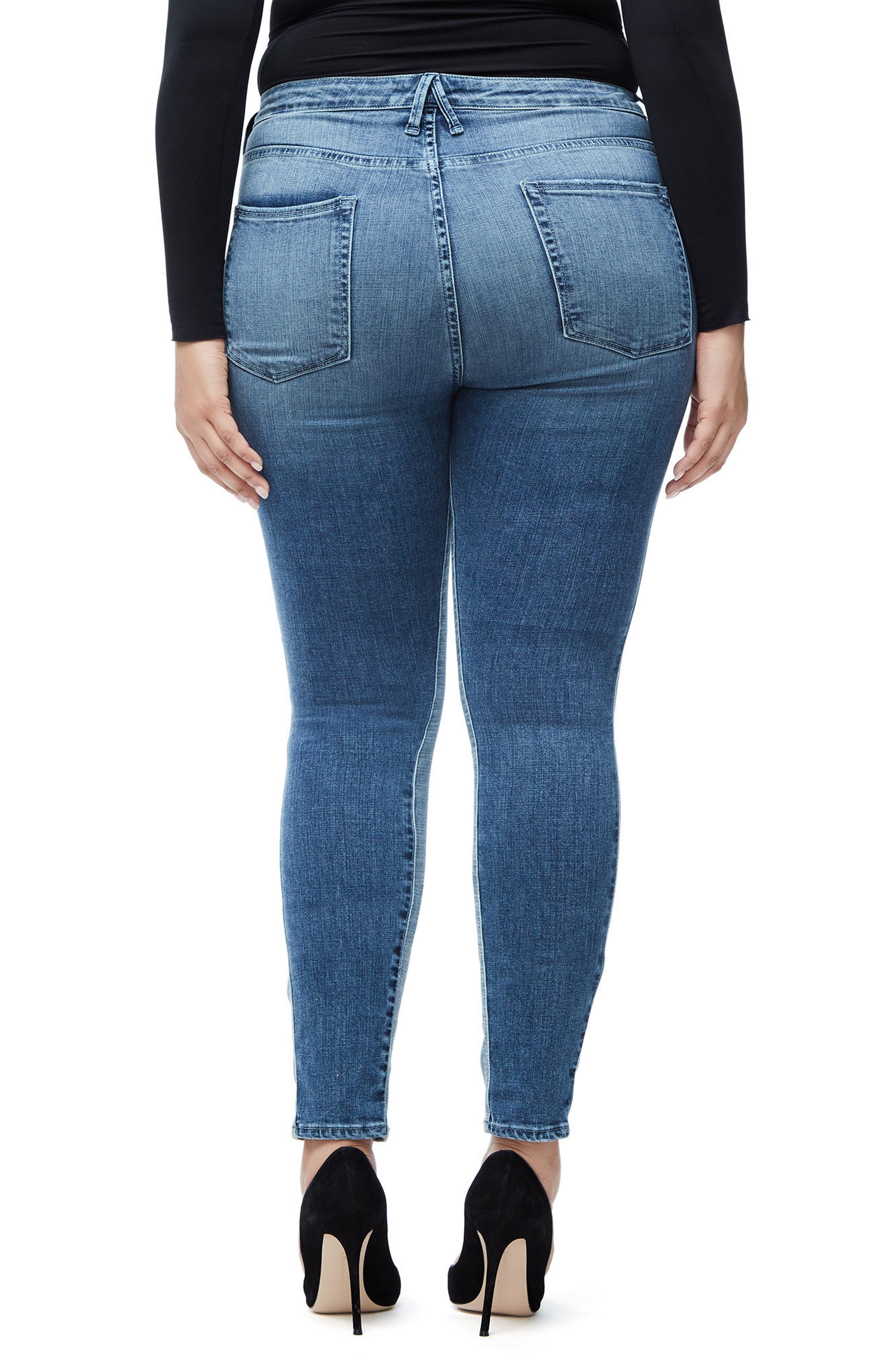 Good Waist Piecing High Waist Skinny Jeans,                             Alternate thumbnail 6, color,                             Blue128