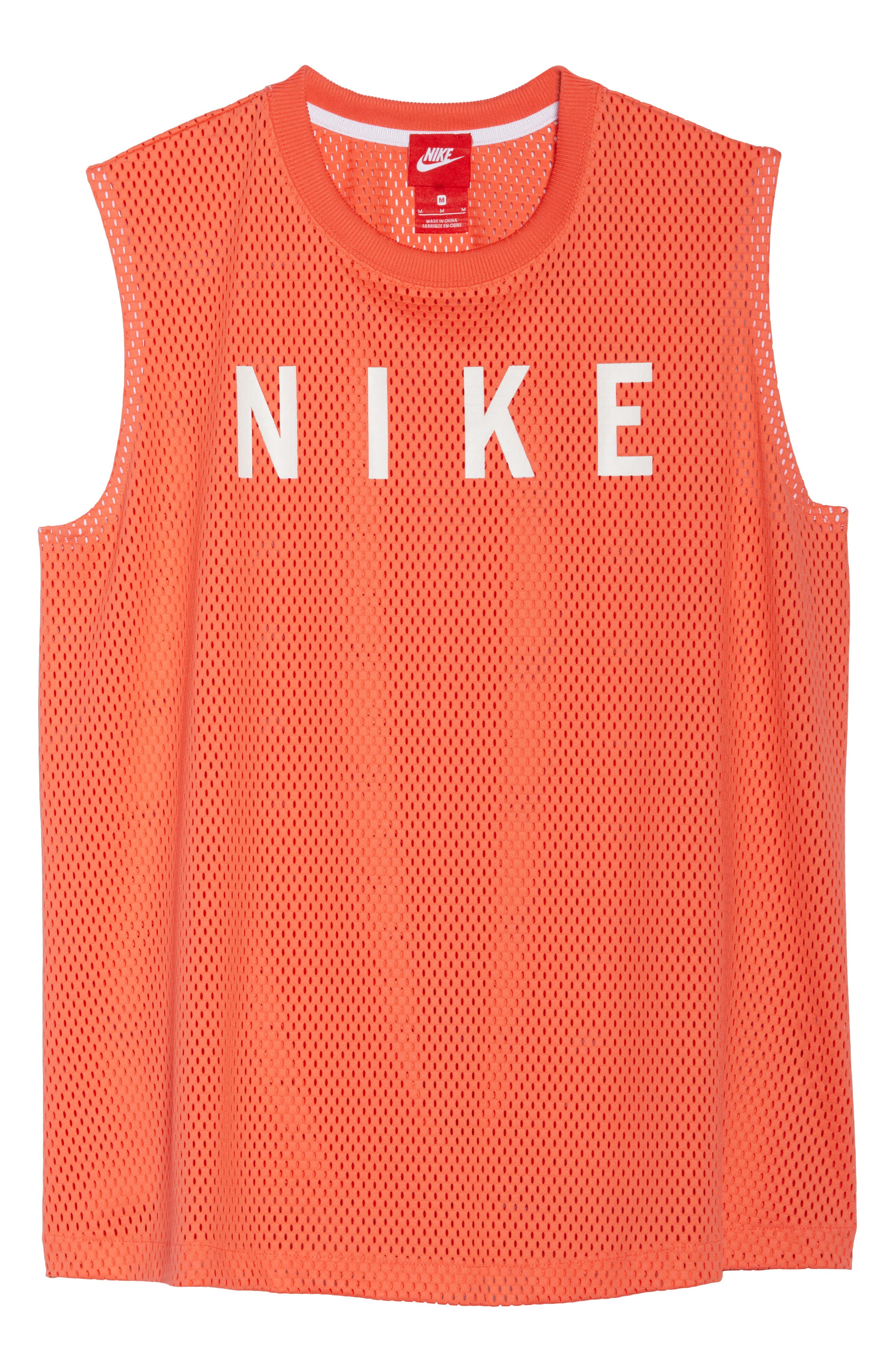 Sportswear Women's Dry Mesh Muscle Tank,                             Alternate thumbnail 7, color,                             Rush Coral/ White