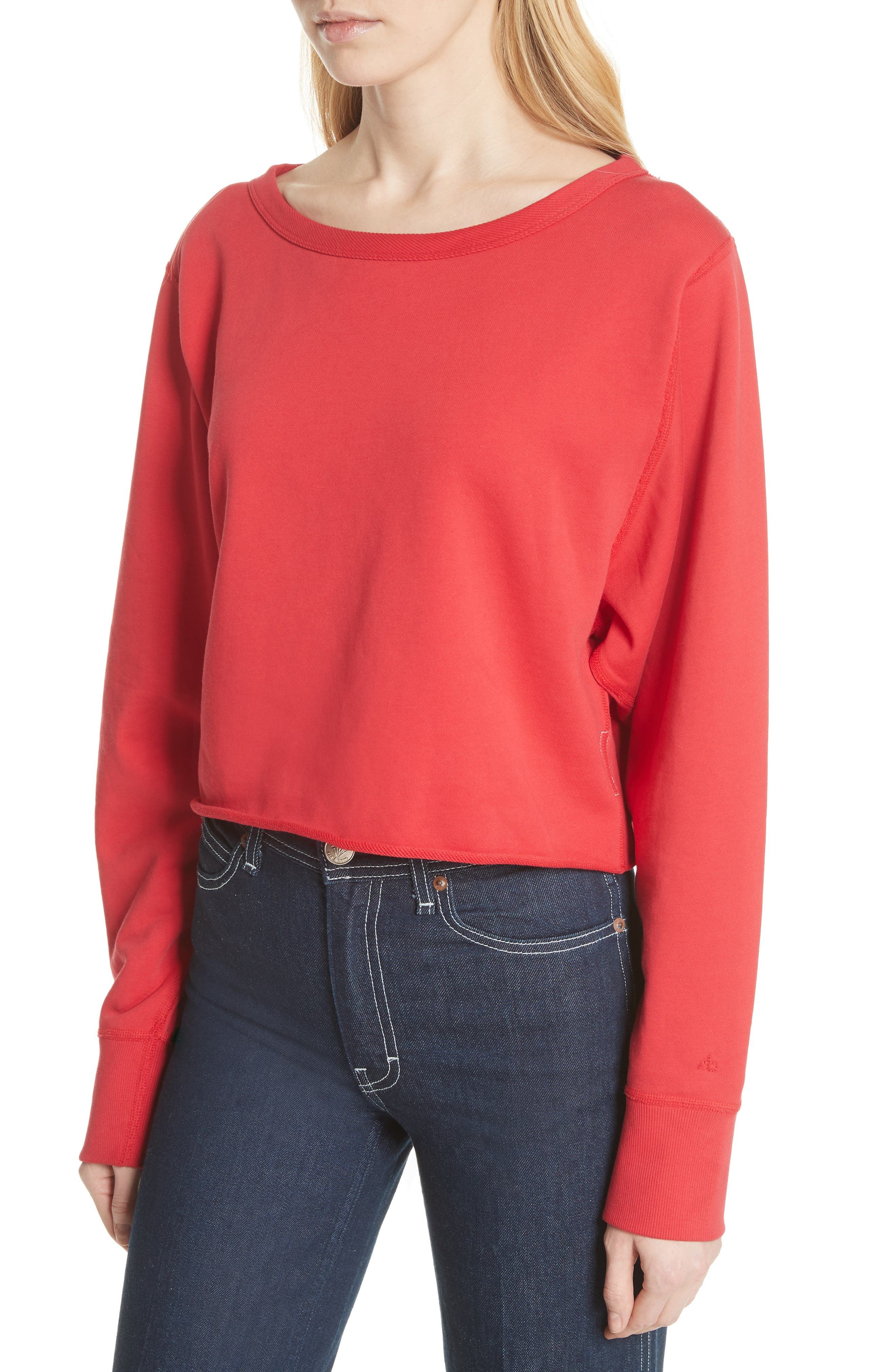 Crop Pullover,                             Alternate thumbnail 4, color,                             True Red