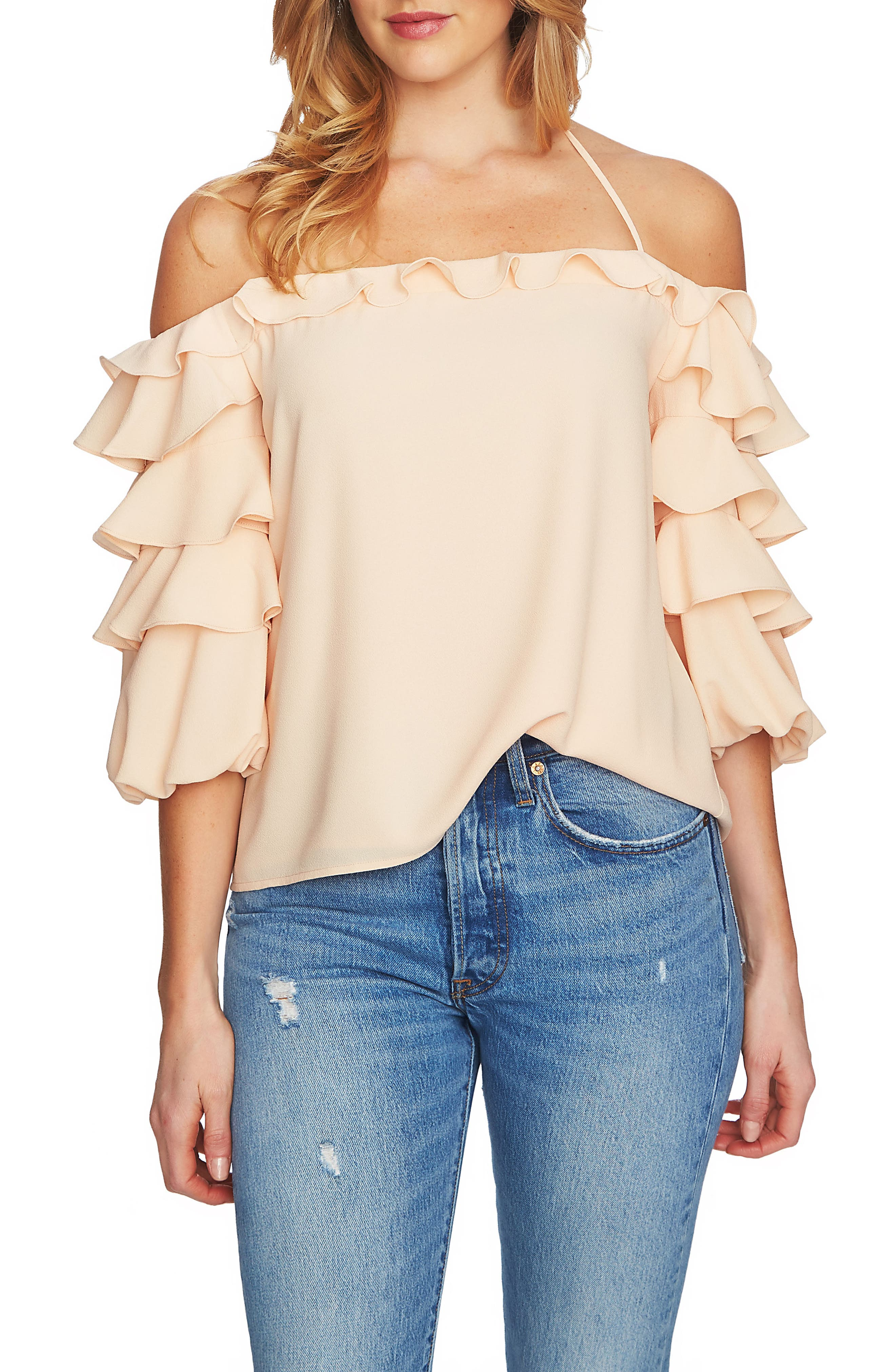 Tiered Ruffle Sleeve Off the Shoulder Top,                             Main thumbnail 1, color,                             Peach Cloud