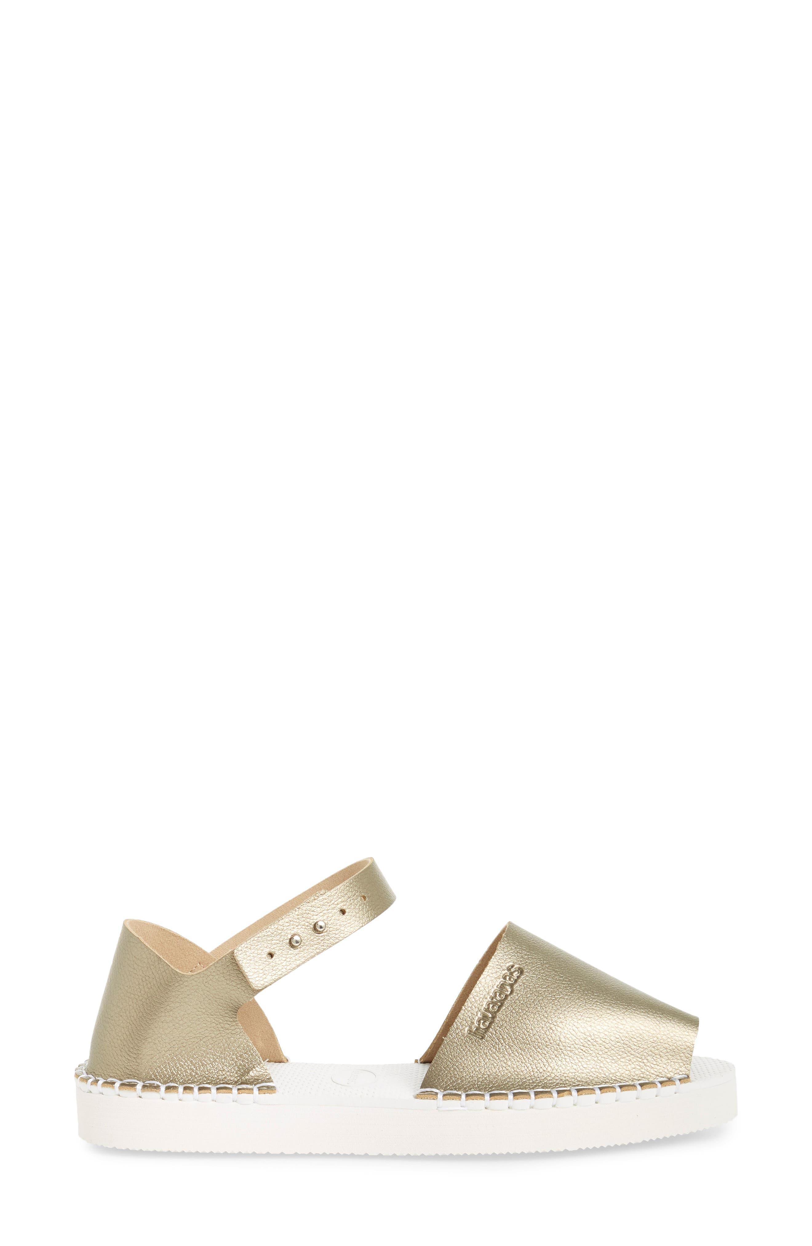 Flatform Fashion Sandal,                             Alternate thumbnail 3, color,                             Golden