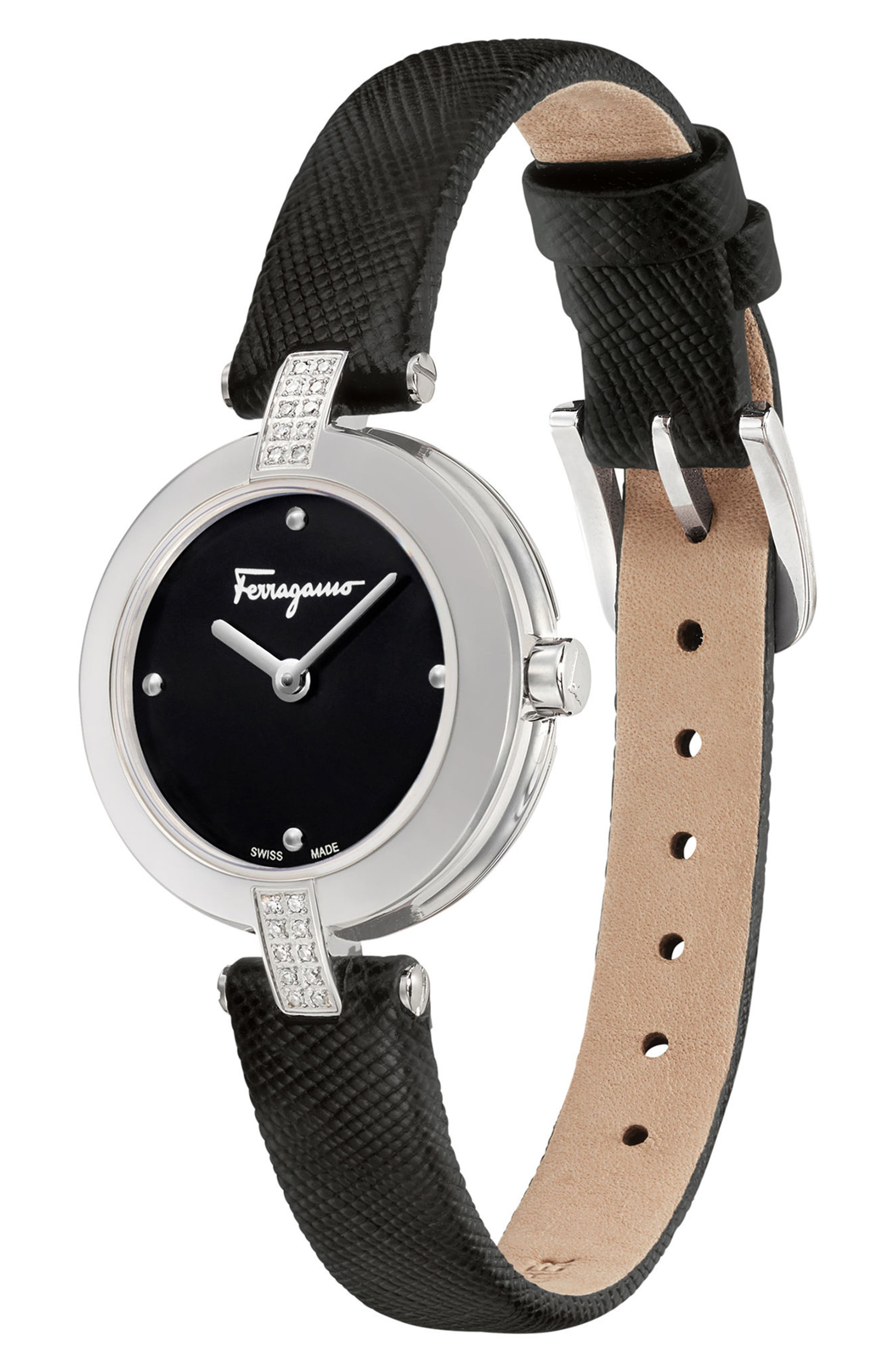 Miniature Leather Strap Watch, 26mm,                             Alternate thumbnail 4, color,                             Black/ Silver