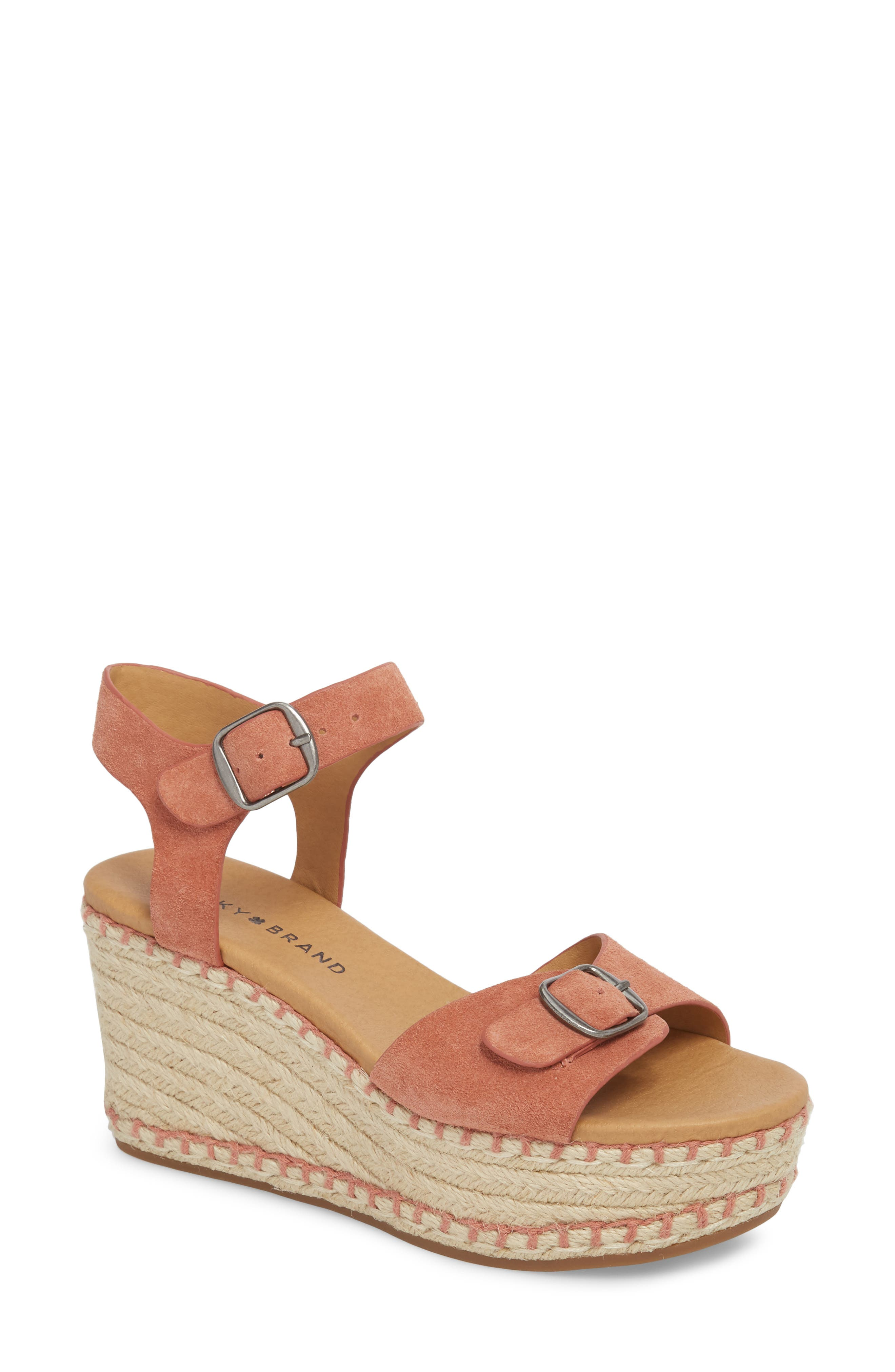 Naveah III Espadrille Wedge Sandal,                             Main thumbnail 1, color,                             Canyon Rose Suede