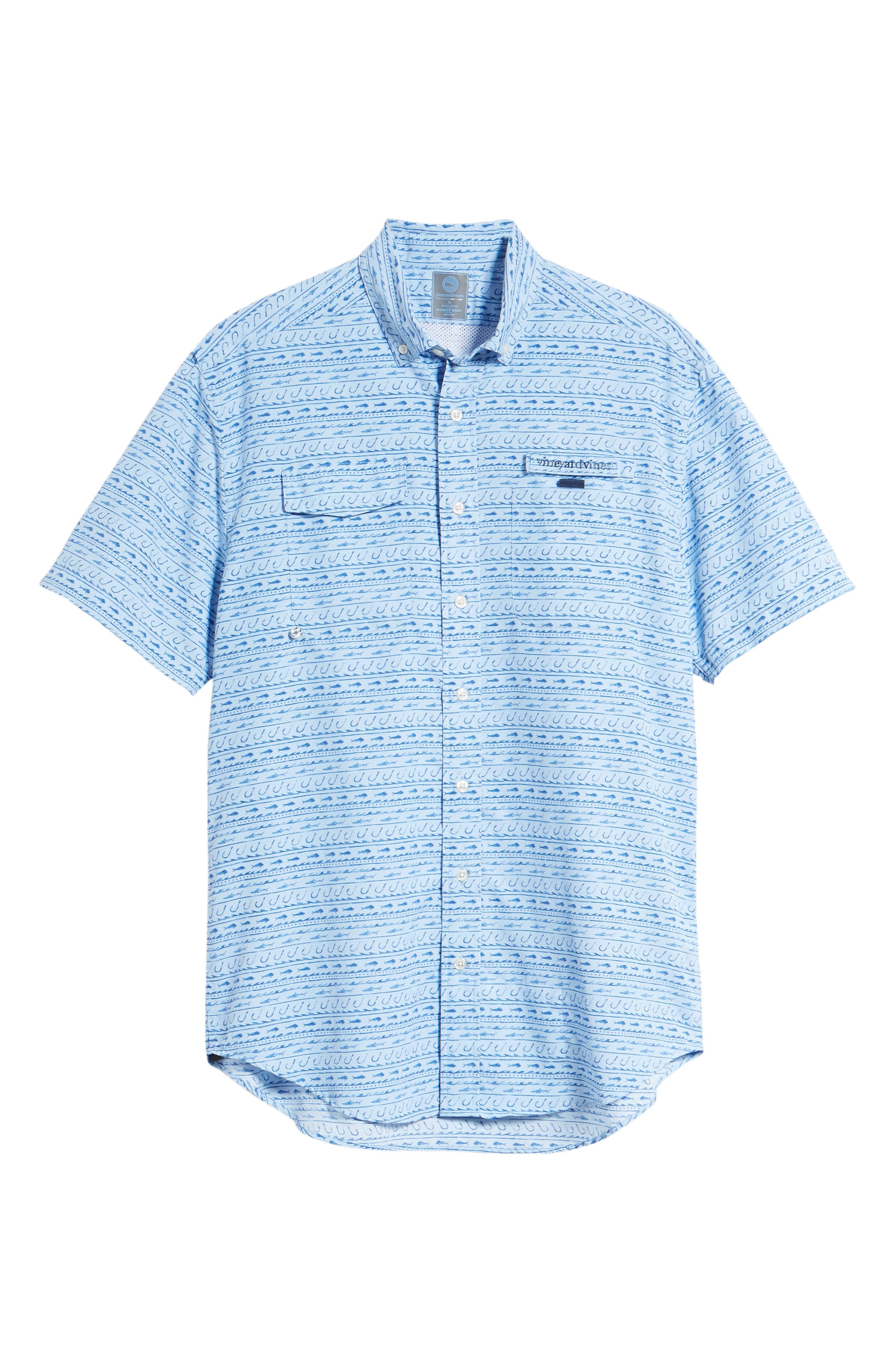 Fish Hook Wave Harbor Shirt,                             Alternate thumbnail 6, color,                             Basin Blue