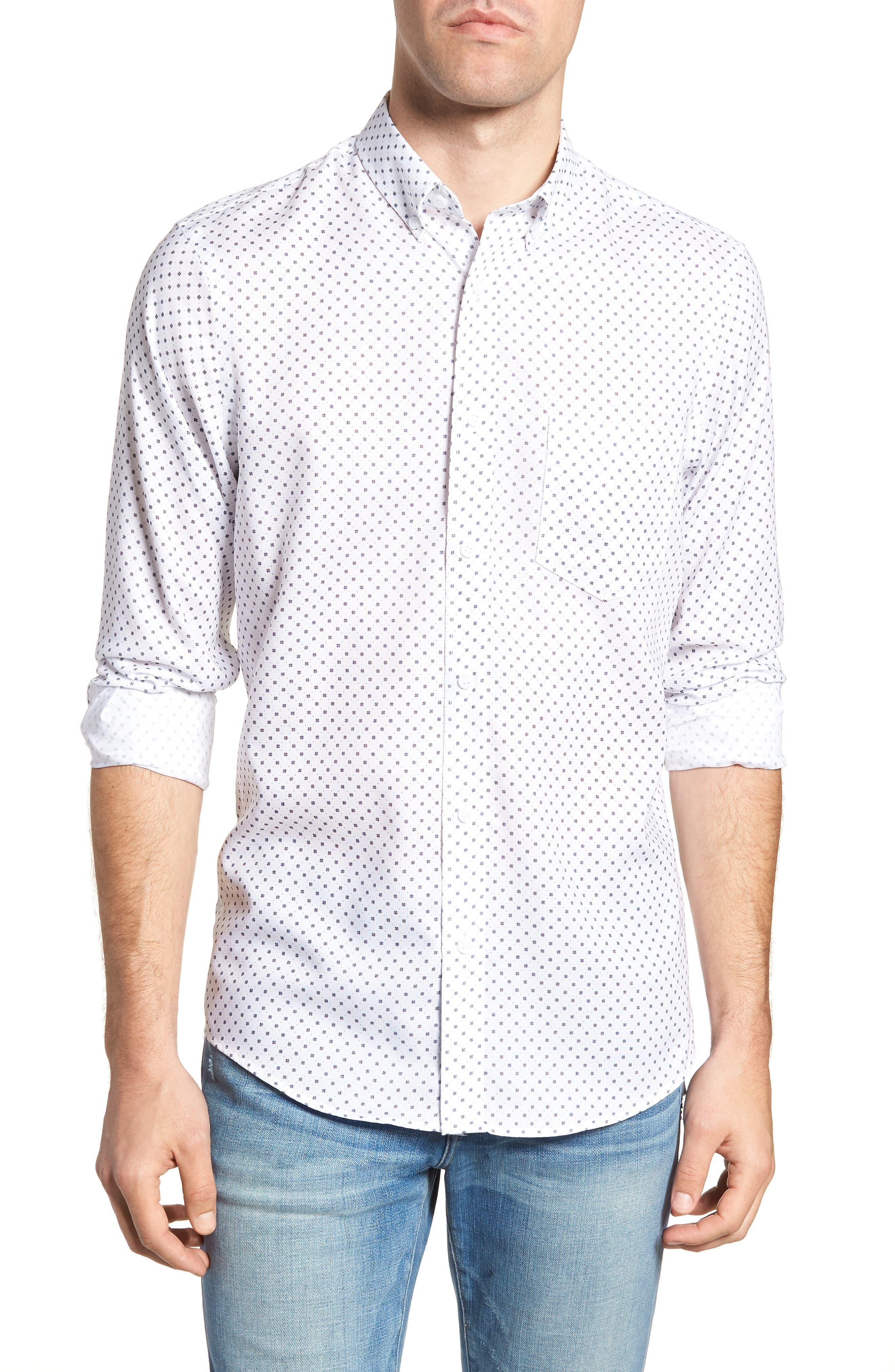 Regular Fit Dobby Print Sport Shirt,                         Main,                         color, White Navy Dobby Print