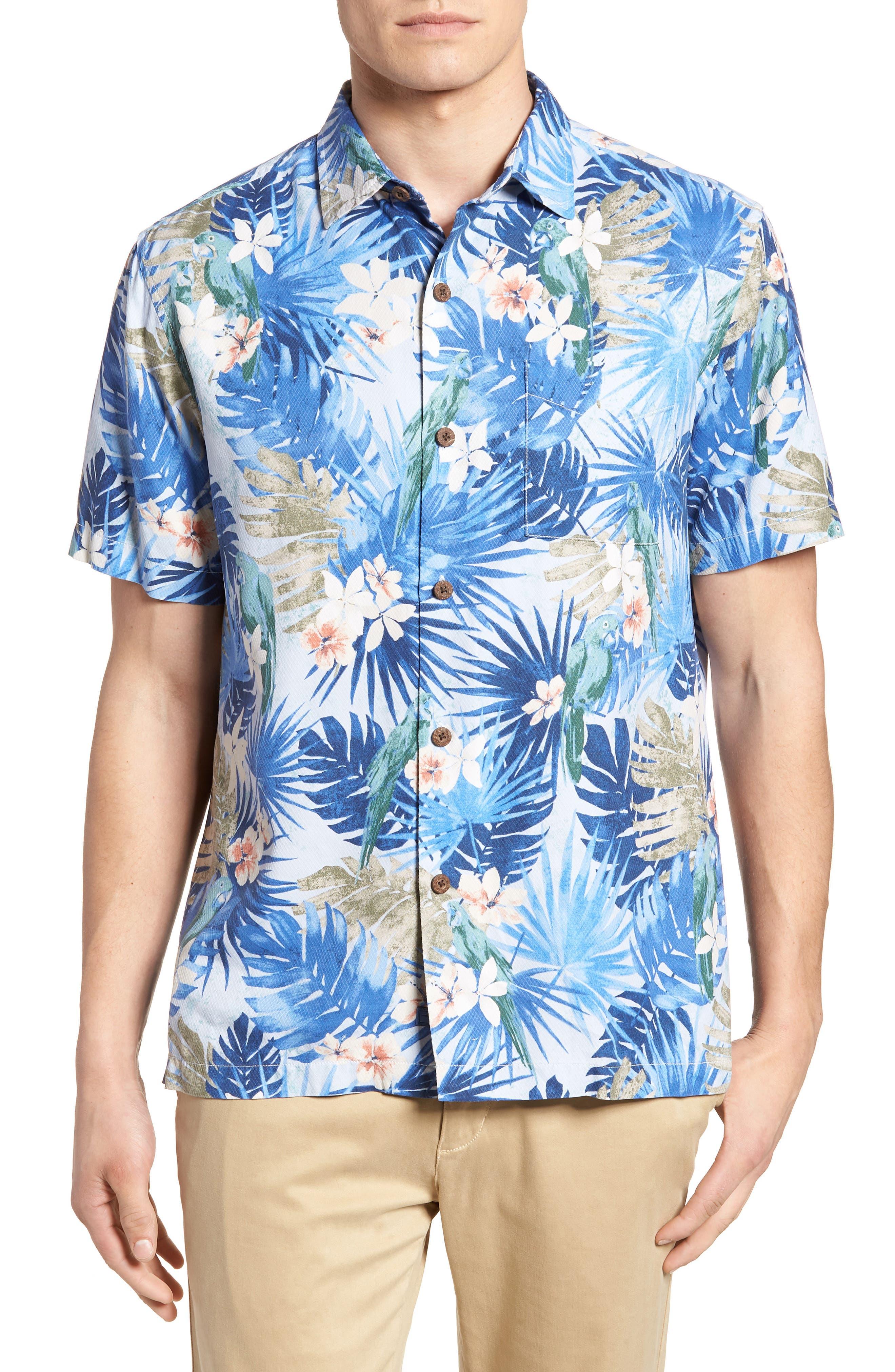 Marino Paradise Silk Camp Shirt,                             Main thumbnail 1, color,                             Sky Blue