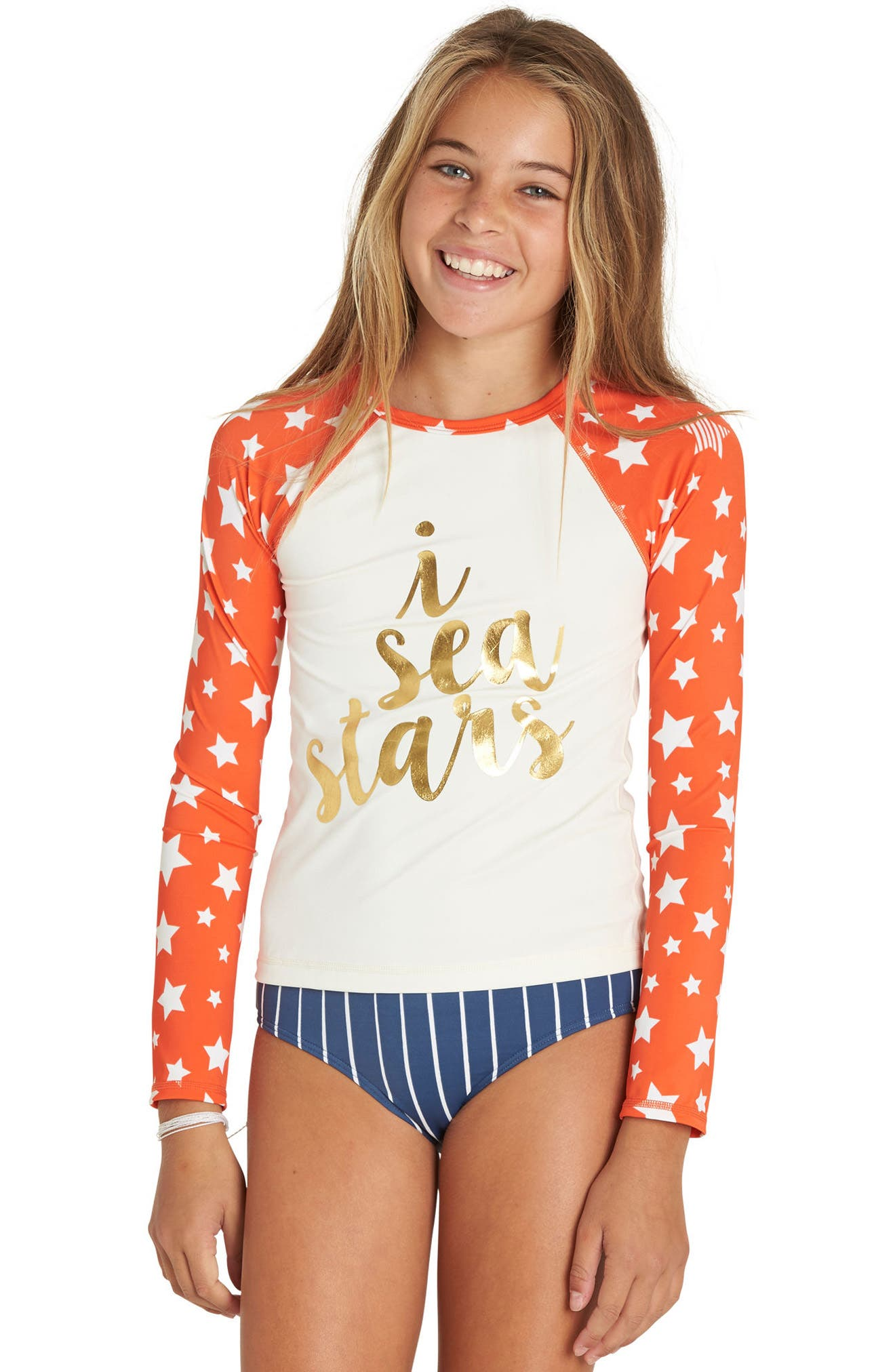 I Sea Stars Two-Piece Rashguard Swimsuit,                             Alternate thumbnail 3, color,                             Multi