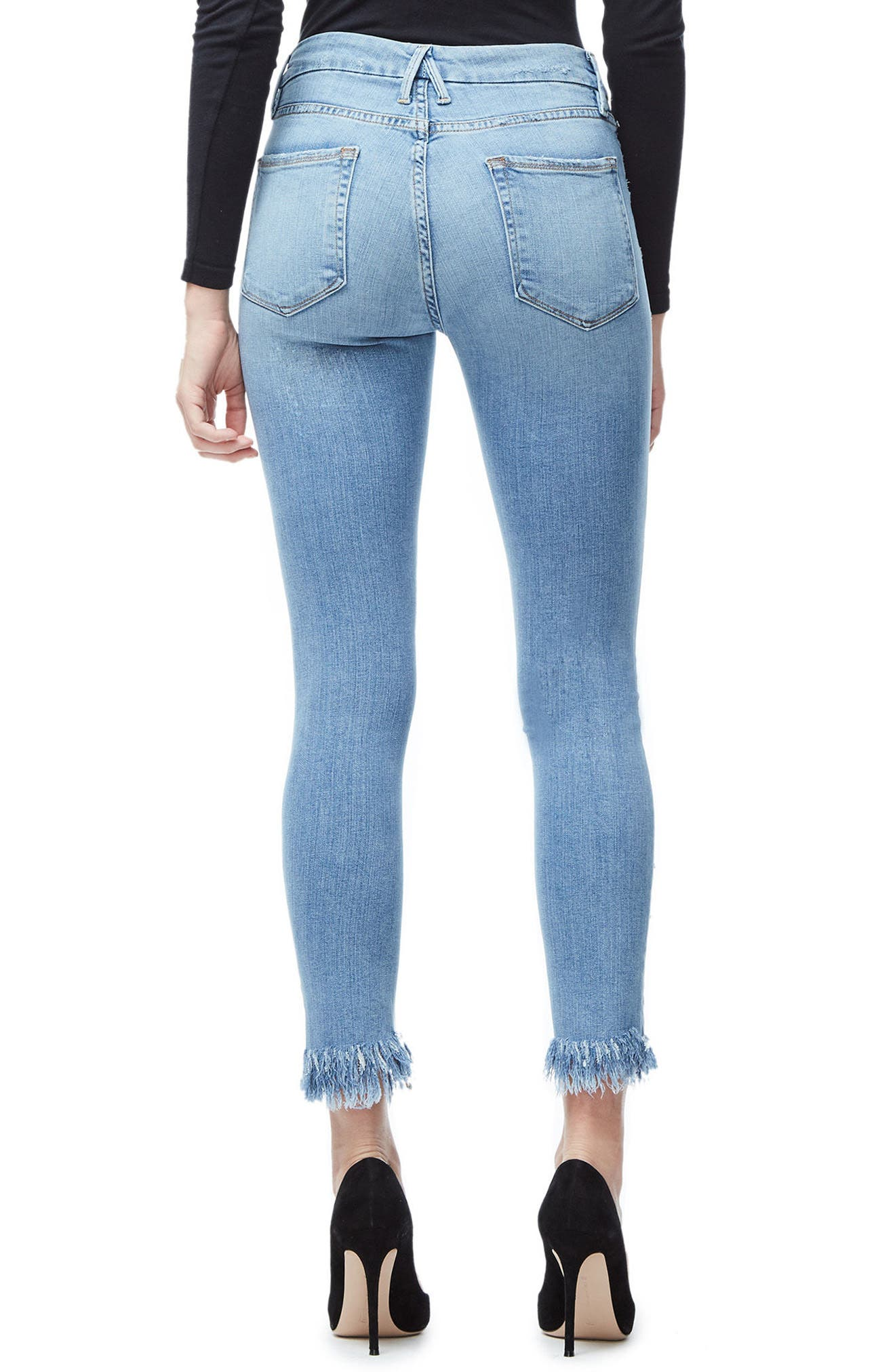 Good Legs Fray Ankle Skinny Jeans,                             Alternate thumbnail 2, color,                             Blue018