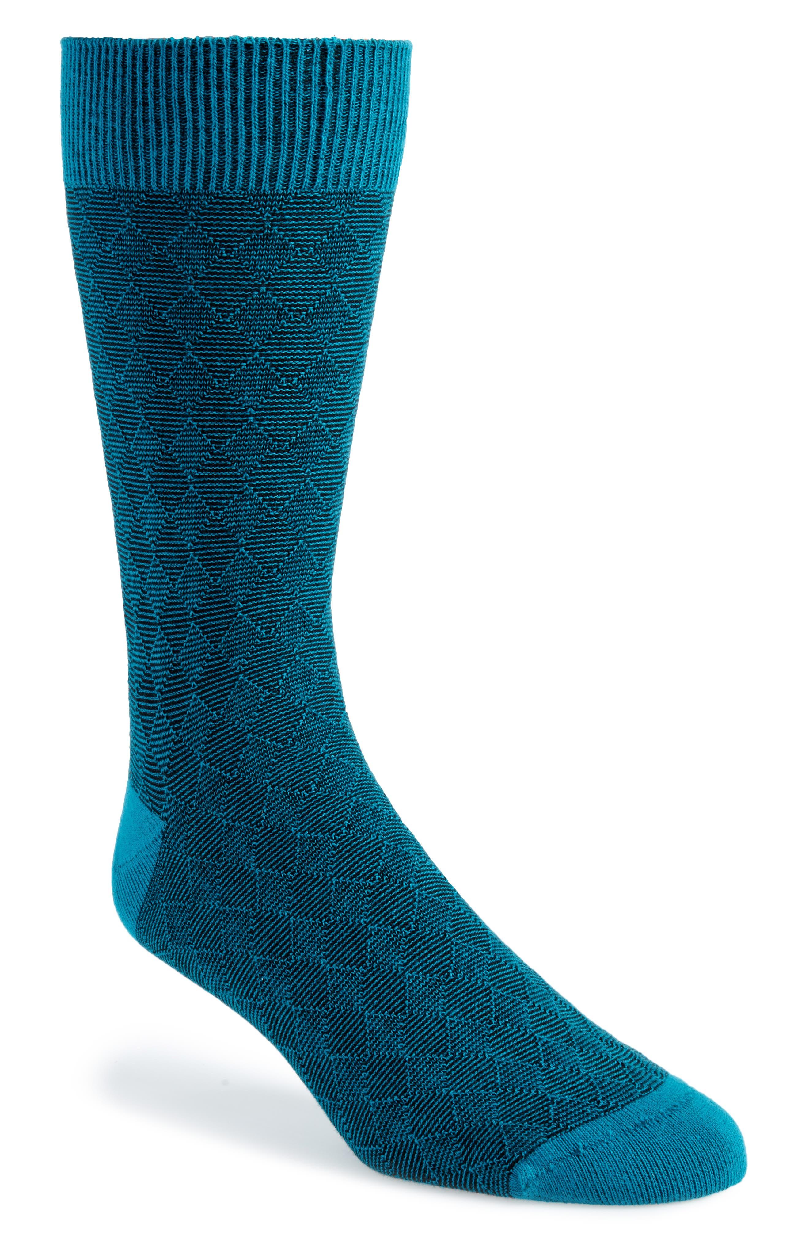 Diamond Textured Socks,                         Main,                         color, Teal