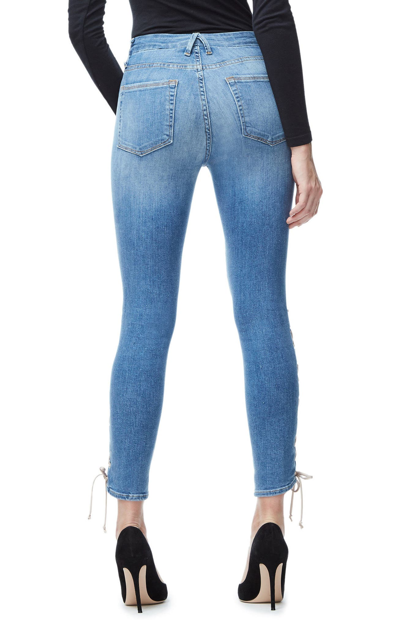 Good Legs Lace-Up High Waist Skinny Jeans,                             Alternate thumbnail 2, color,                             Blue045