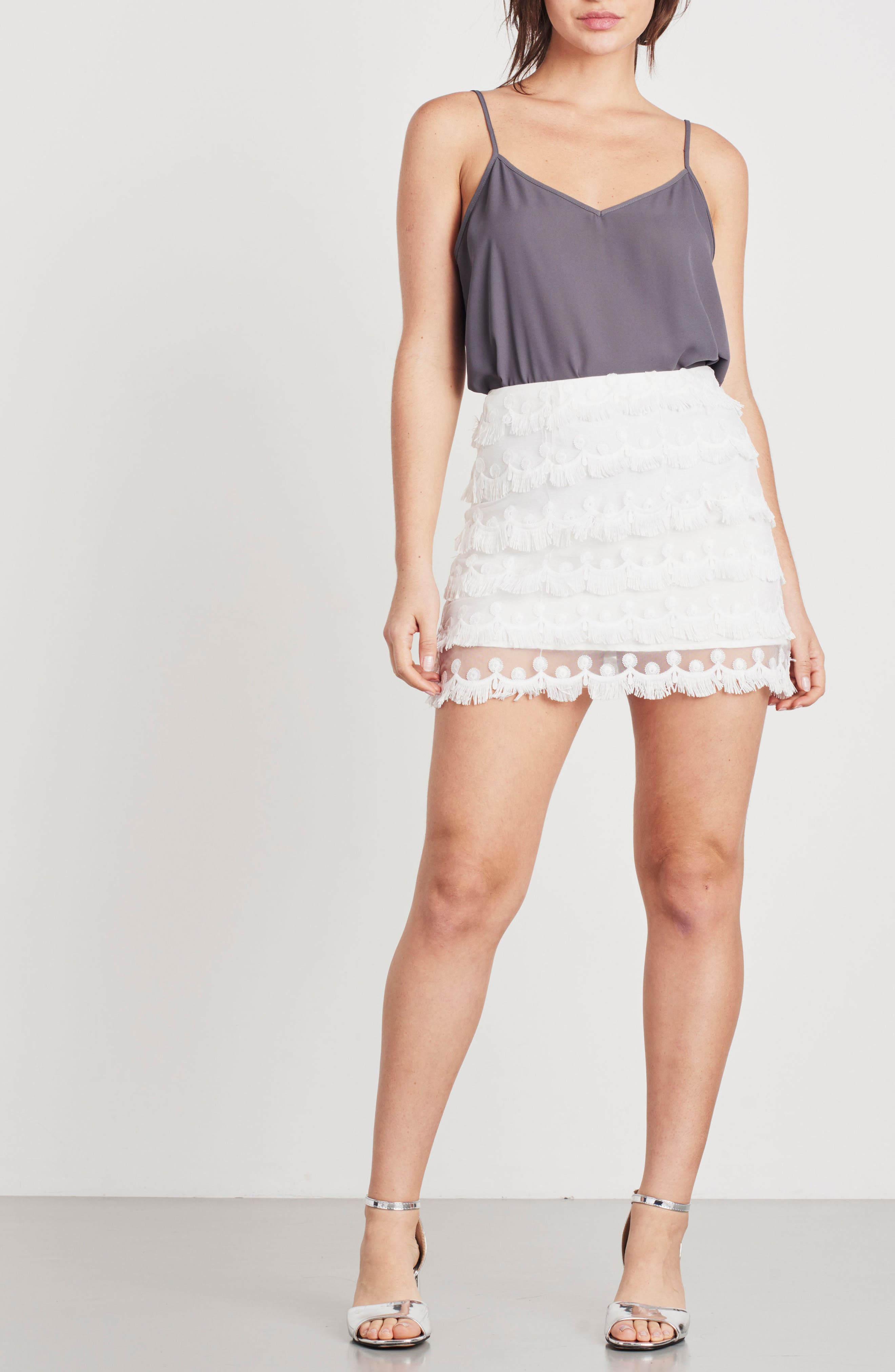 3D Lace Fringed Miniskirt,                             Alternate thumbnail 2, color,                             White