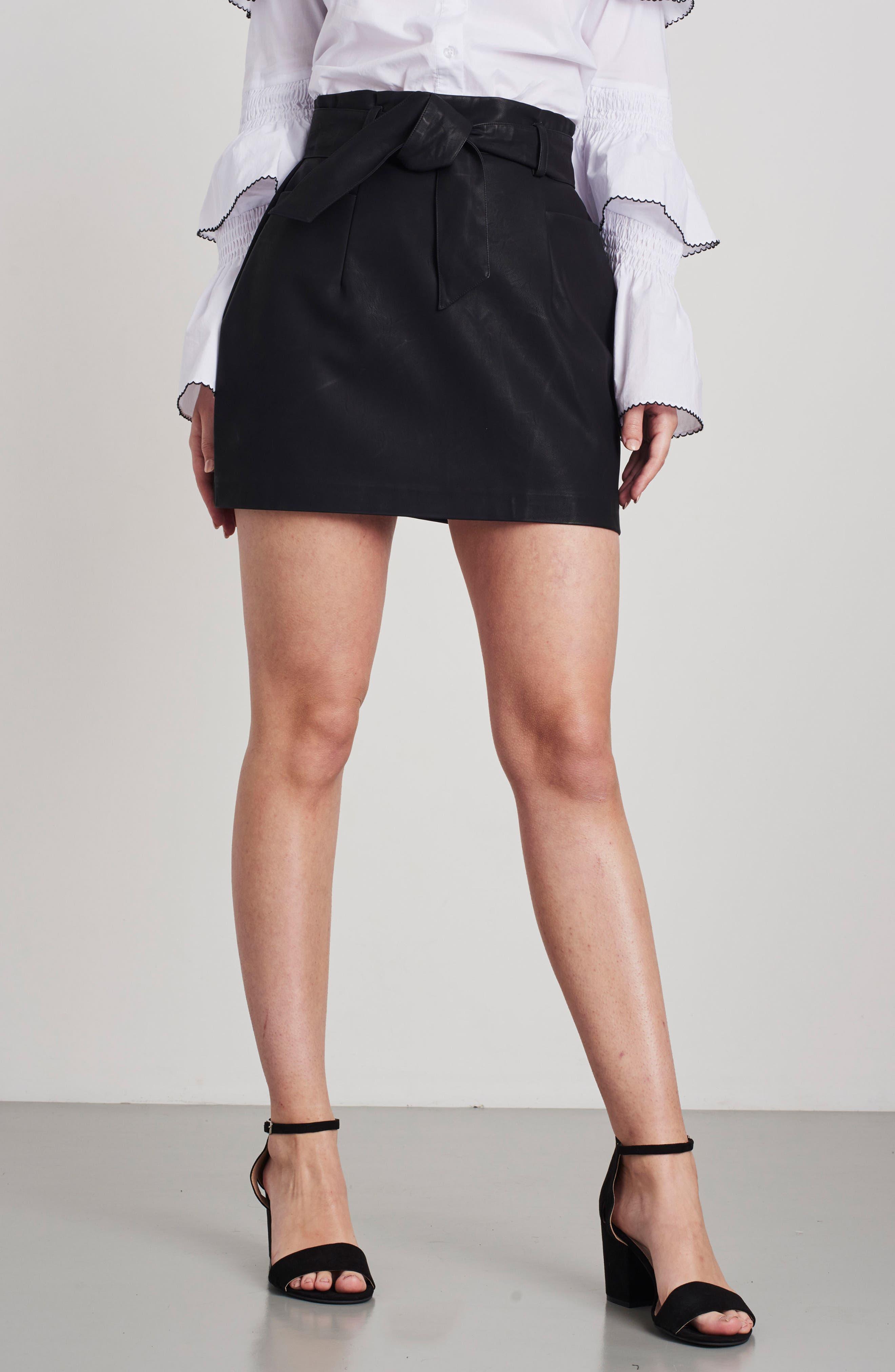 Paperbag Faux Leather Miniskirt,                             Alternate thumbnail 7, color,