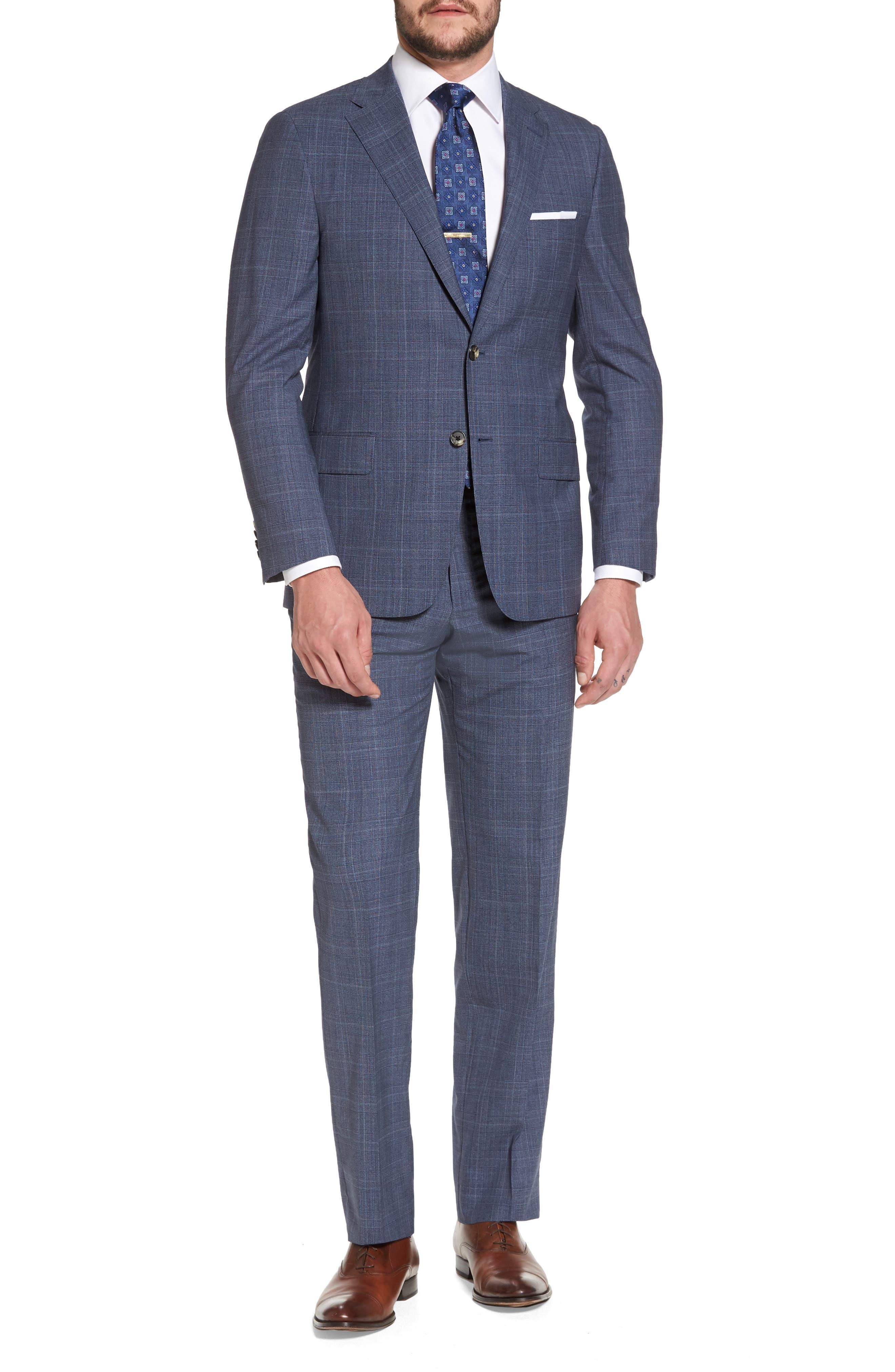 Classic B Fit Plaid Wool Suit,                             Main thumbnail 1, color,                             Blue
