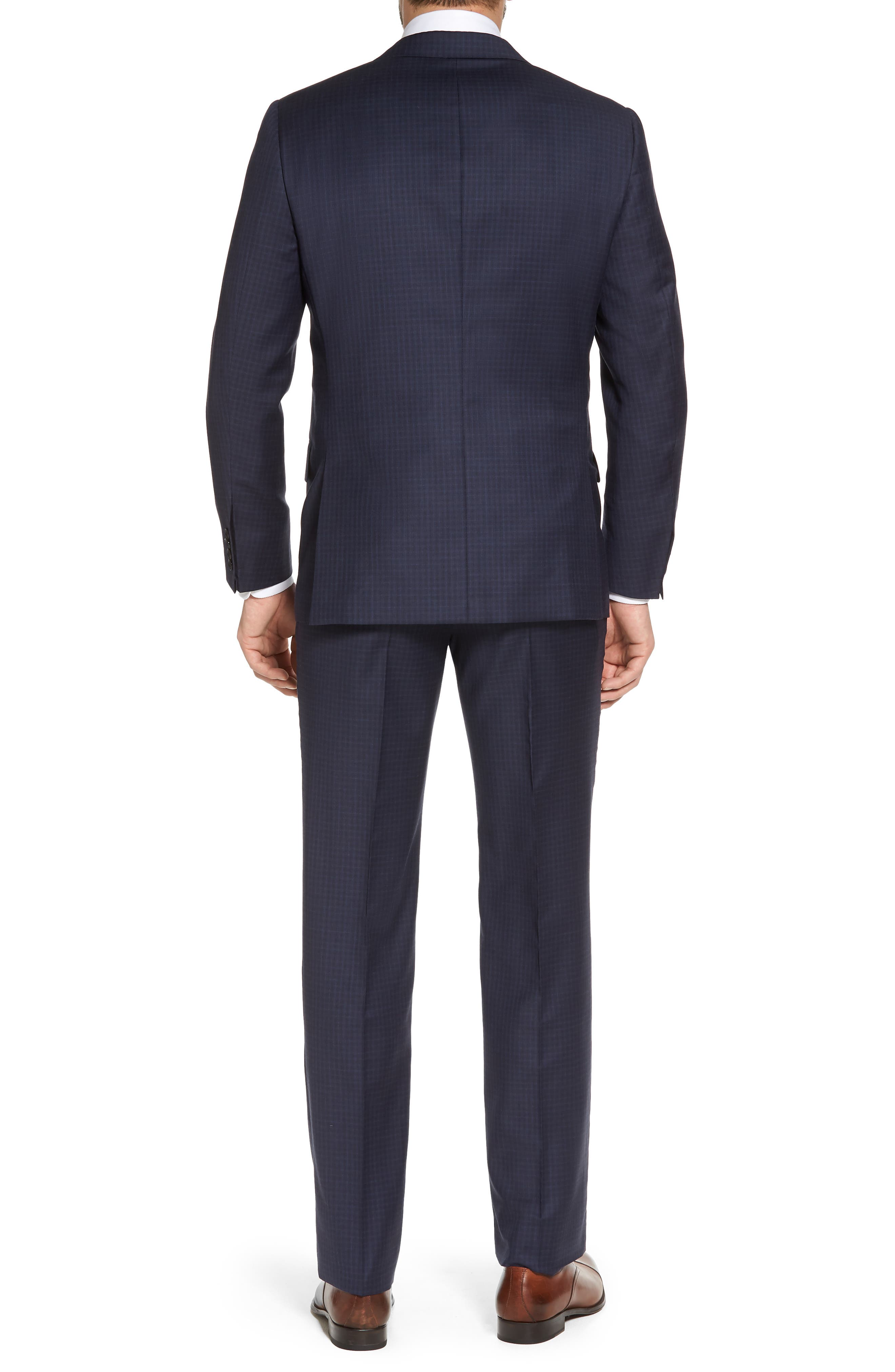 Classic B Fit Check Wool Suit,                             Alternate thumbnail 2, color,                             Navy