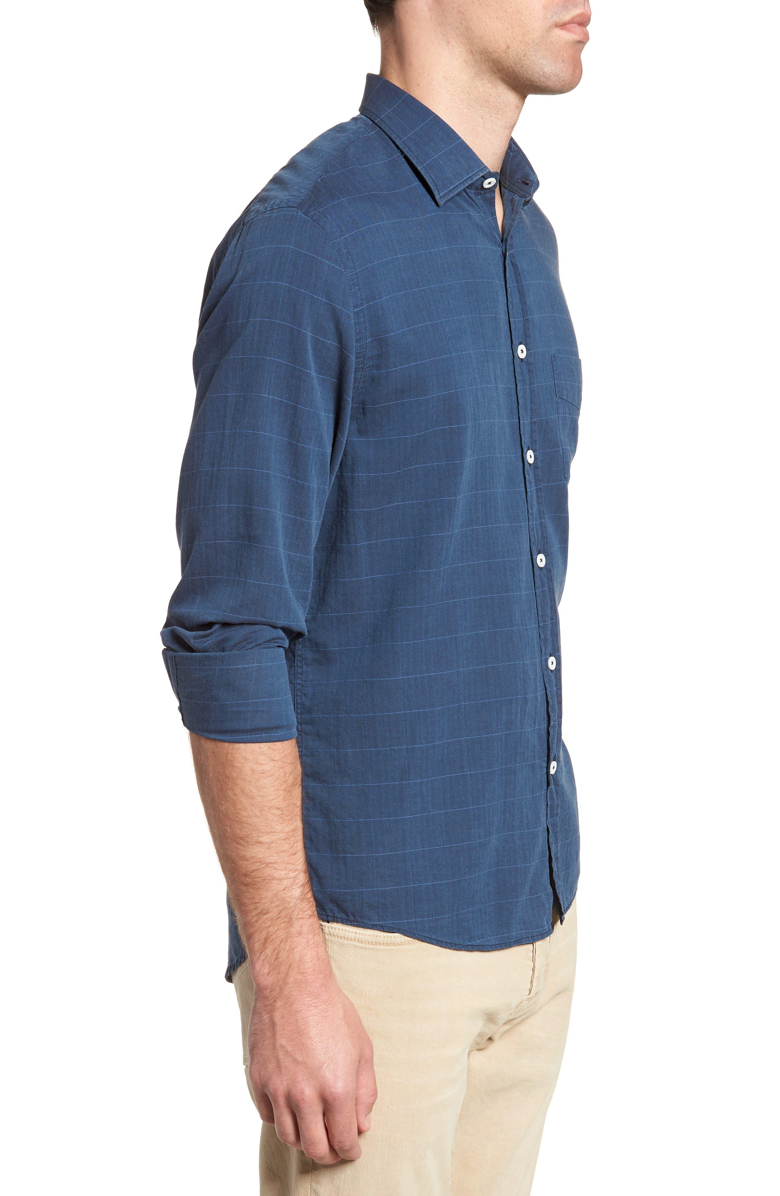 John Standard Fit Windowpane Sport Shirt,                             Alternate thumbnail 4, color,                             Indigo
