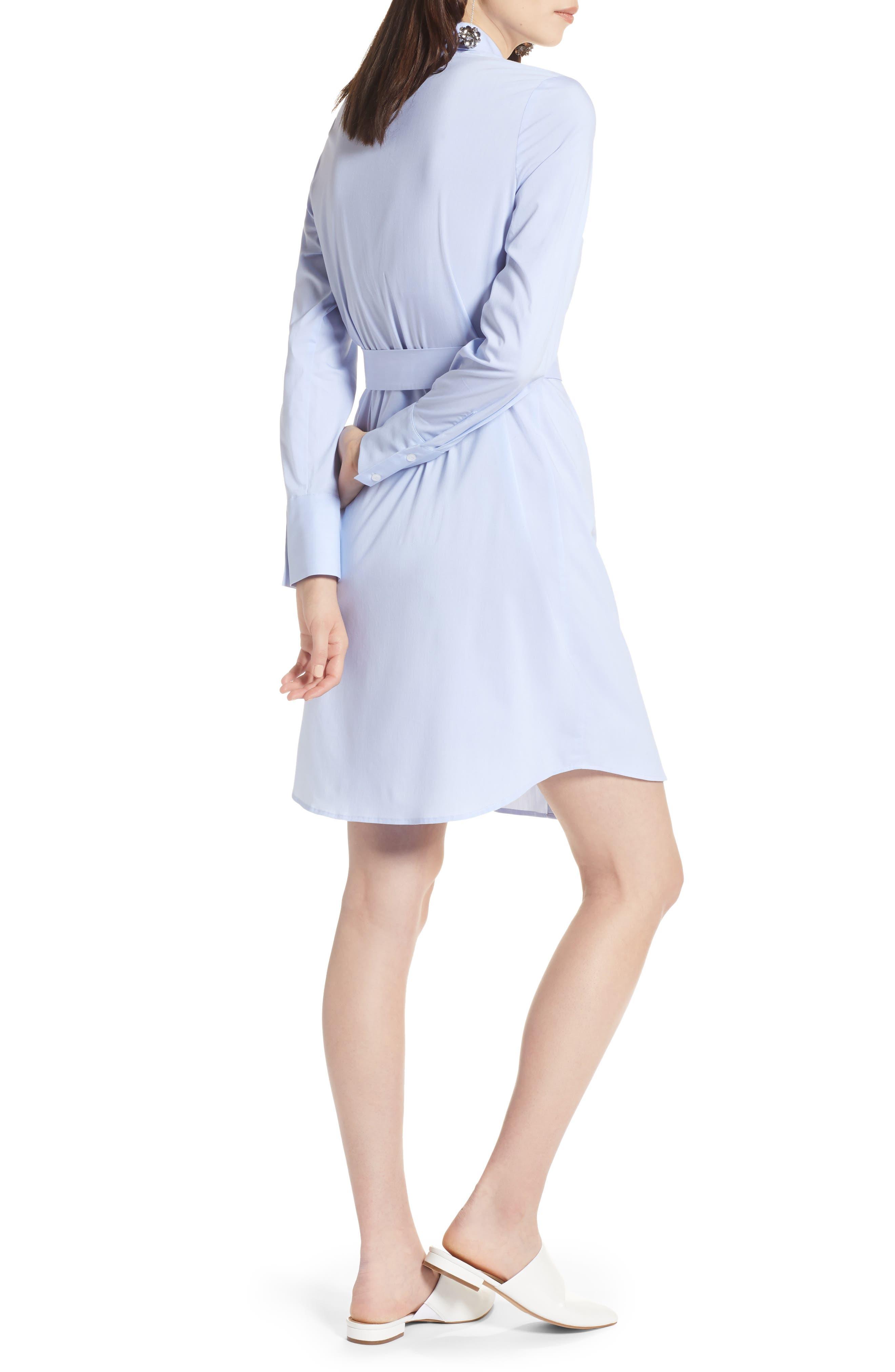 Stretch Cotton Poplin Shirtdress,                             Alternate thumbnail 2, color,                             Blue End Ptn