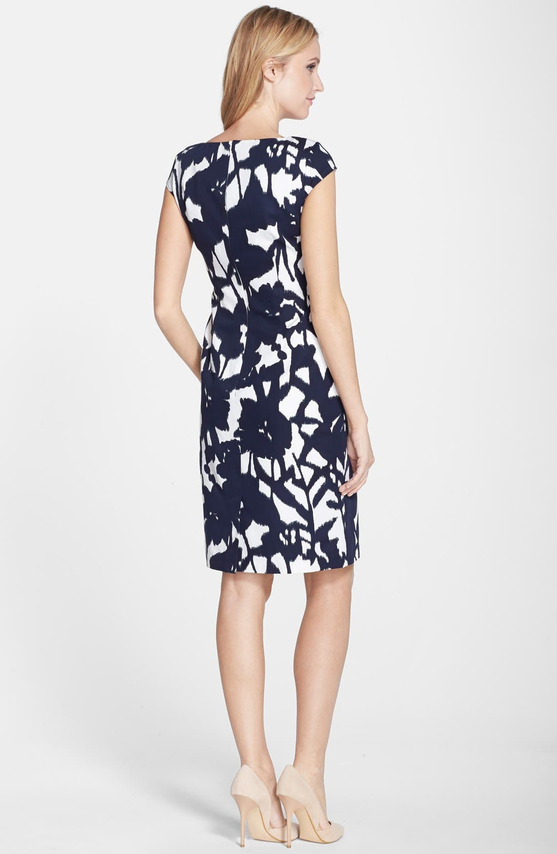 Alternate Image 2  - Adrianna Papell Print Cotton Faille Sheath Dress