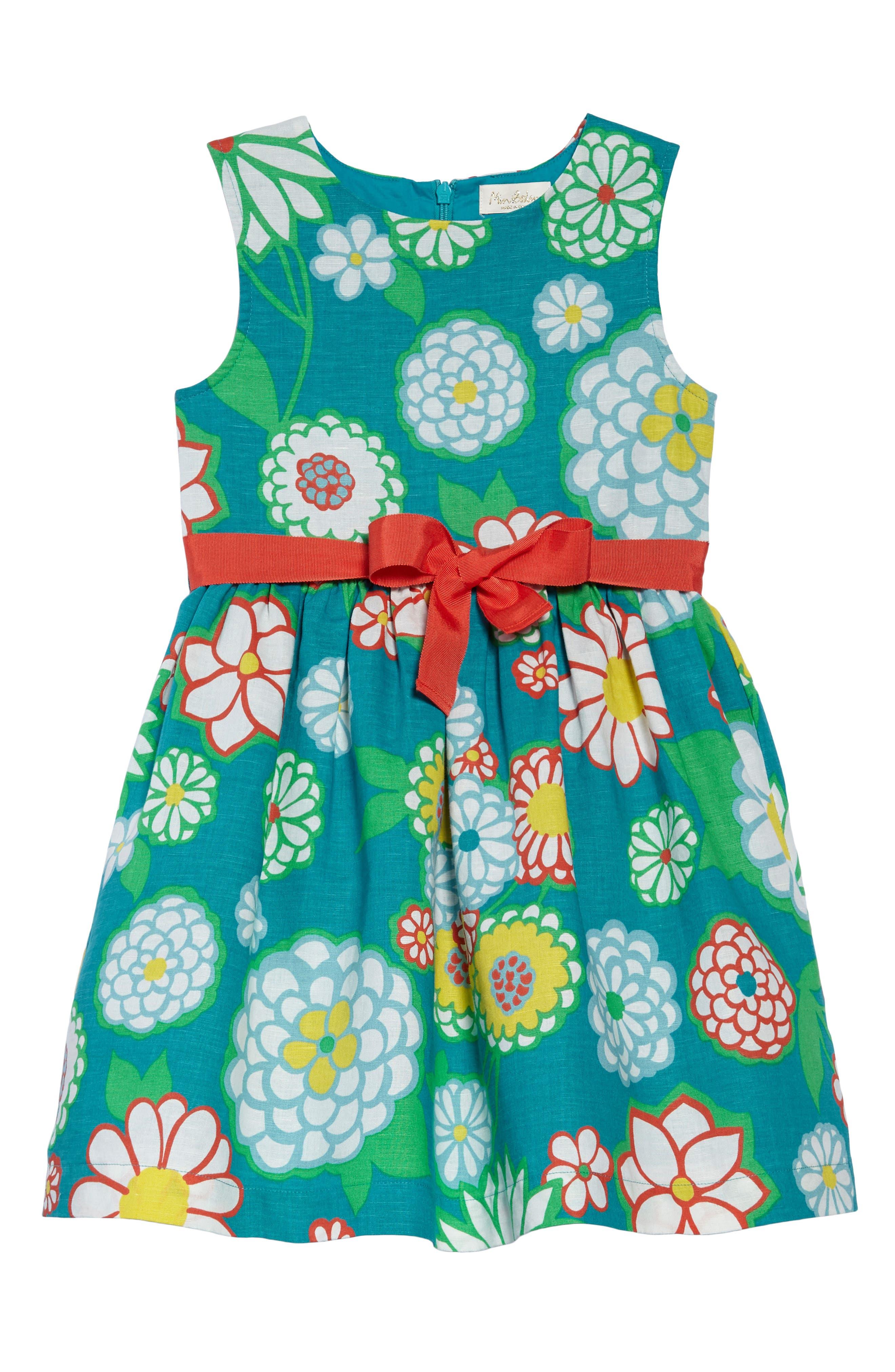 Alternate Image 1 Selected - Mini Boden Vintage Linen & Cotton Dress (Toddler Girls, Little Girls & Big Girls)