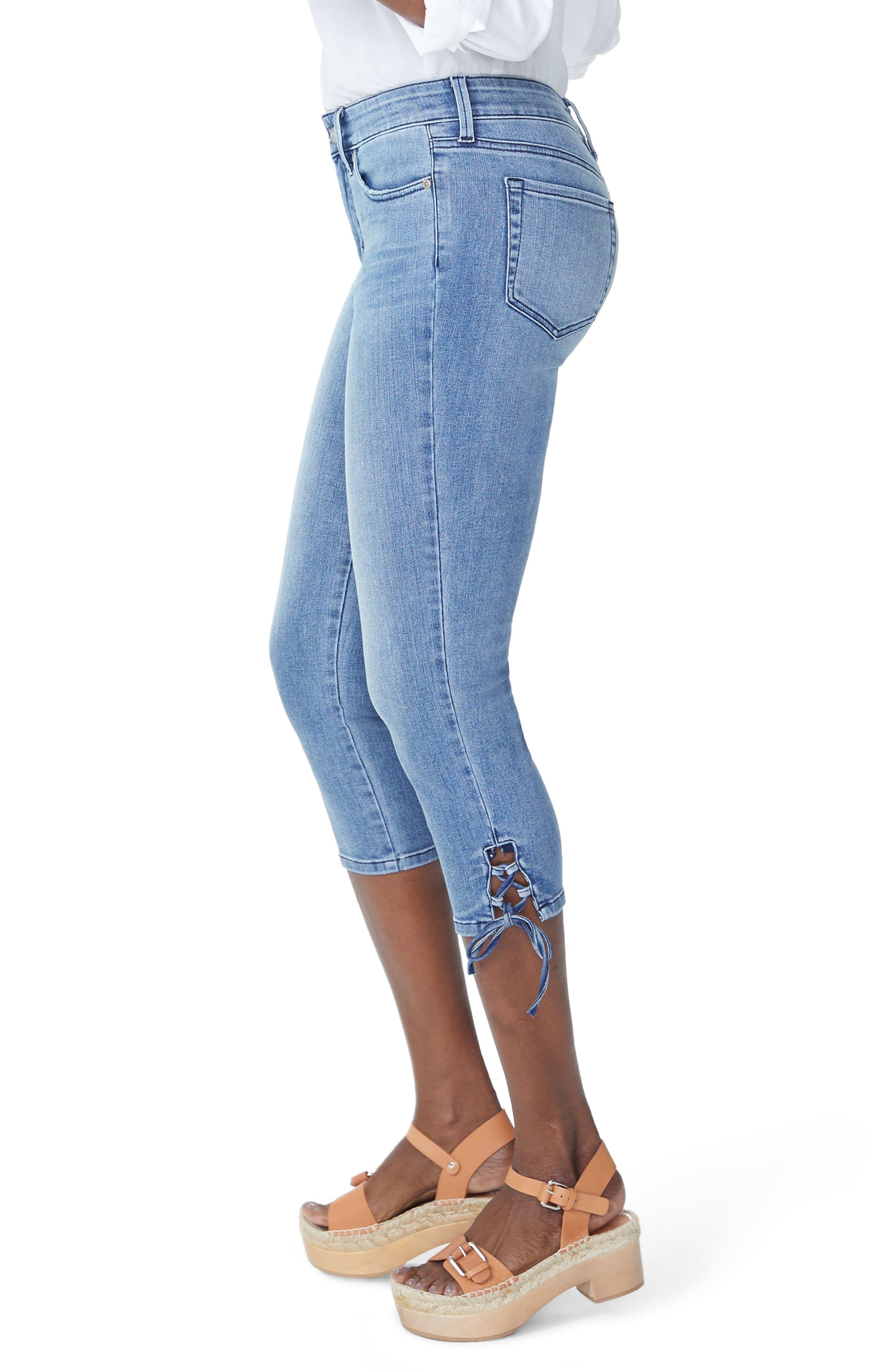 Lace Up Hem Capri Jeans,                             Alternate thumbnail 3, color,                             Point Dume