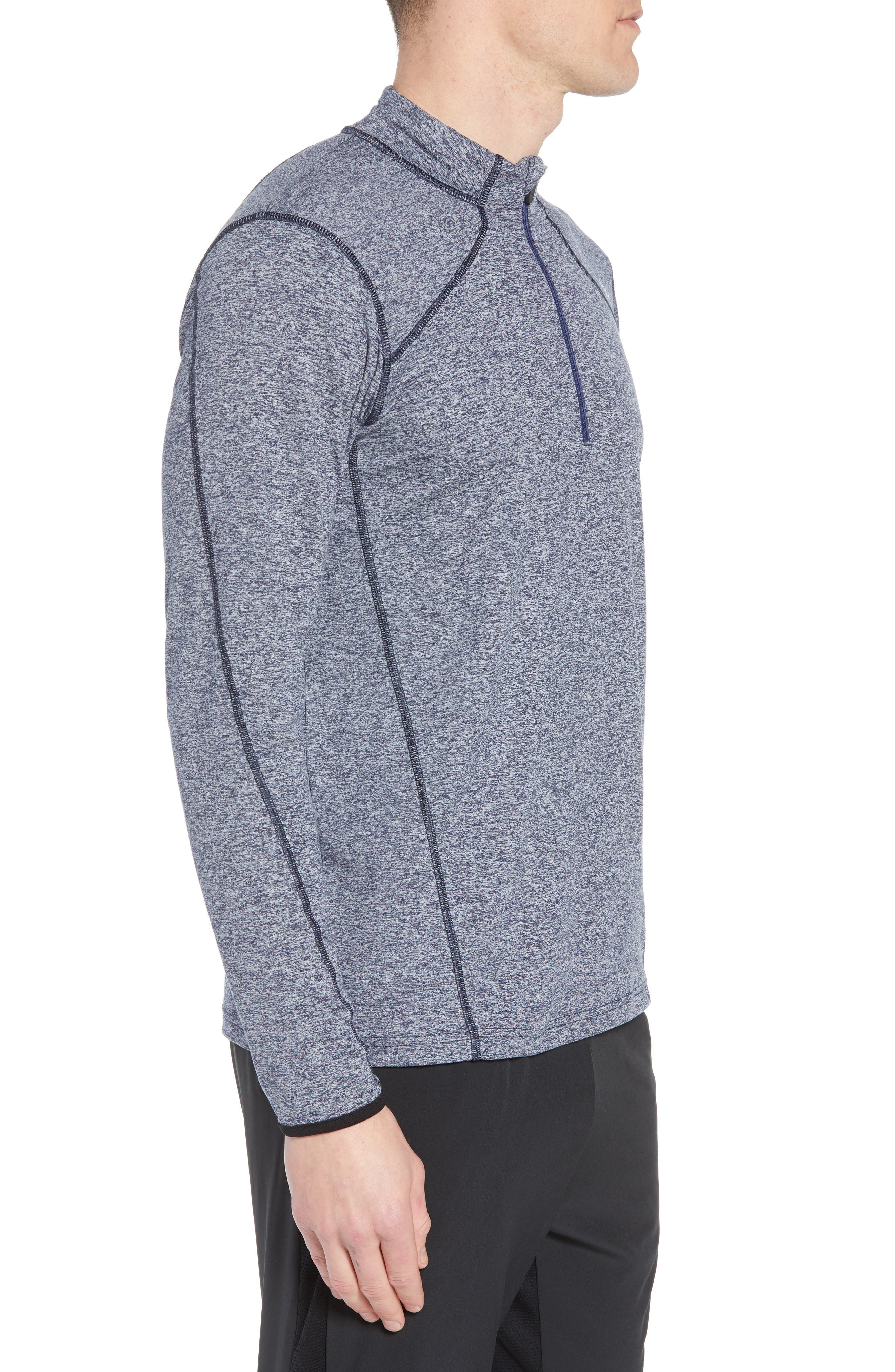 'Elevate' Moisture Wicking Stretch Quarter Zip Pullover,                             Alternate thumbnail 3, color,                             Heather Navy/ Navy