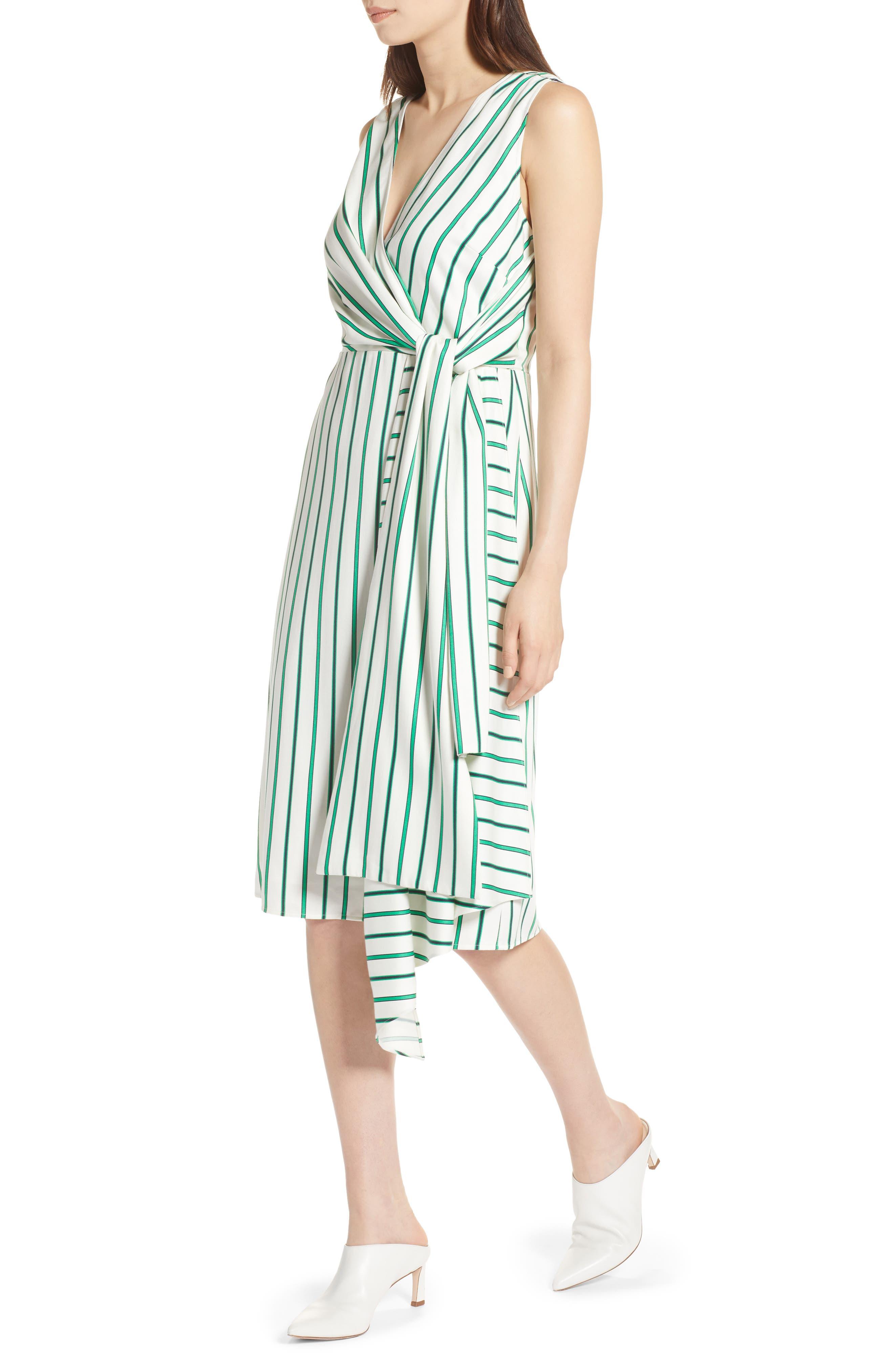 Draped Faux Wrap Dress,                             Alternate thumbnail 4, color,                             Ivory- Green Stripe