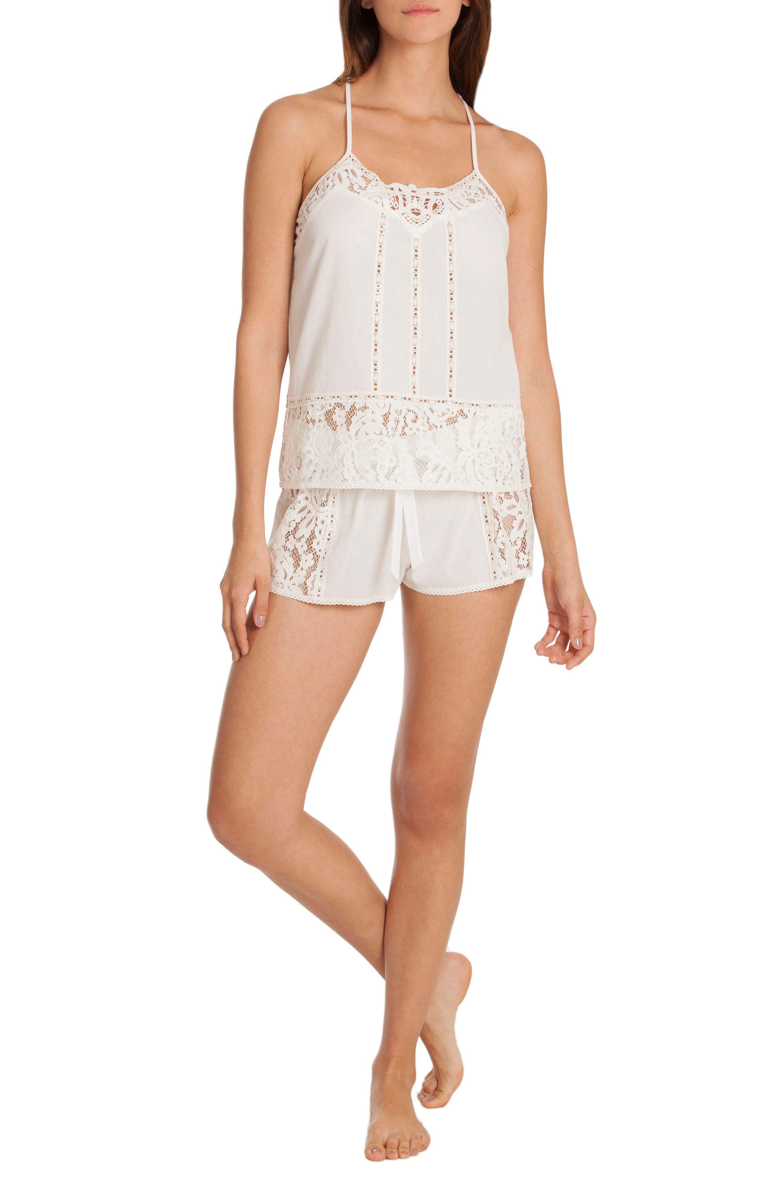 Eyelet Cotton Short Pajamas,                             Alternate thumbnail 4, color,                             Ivory/ Beige