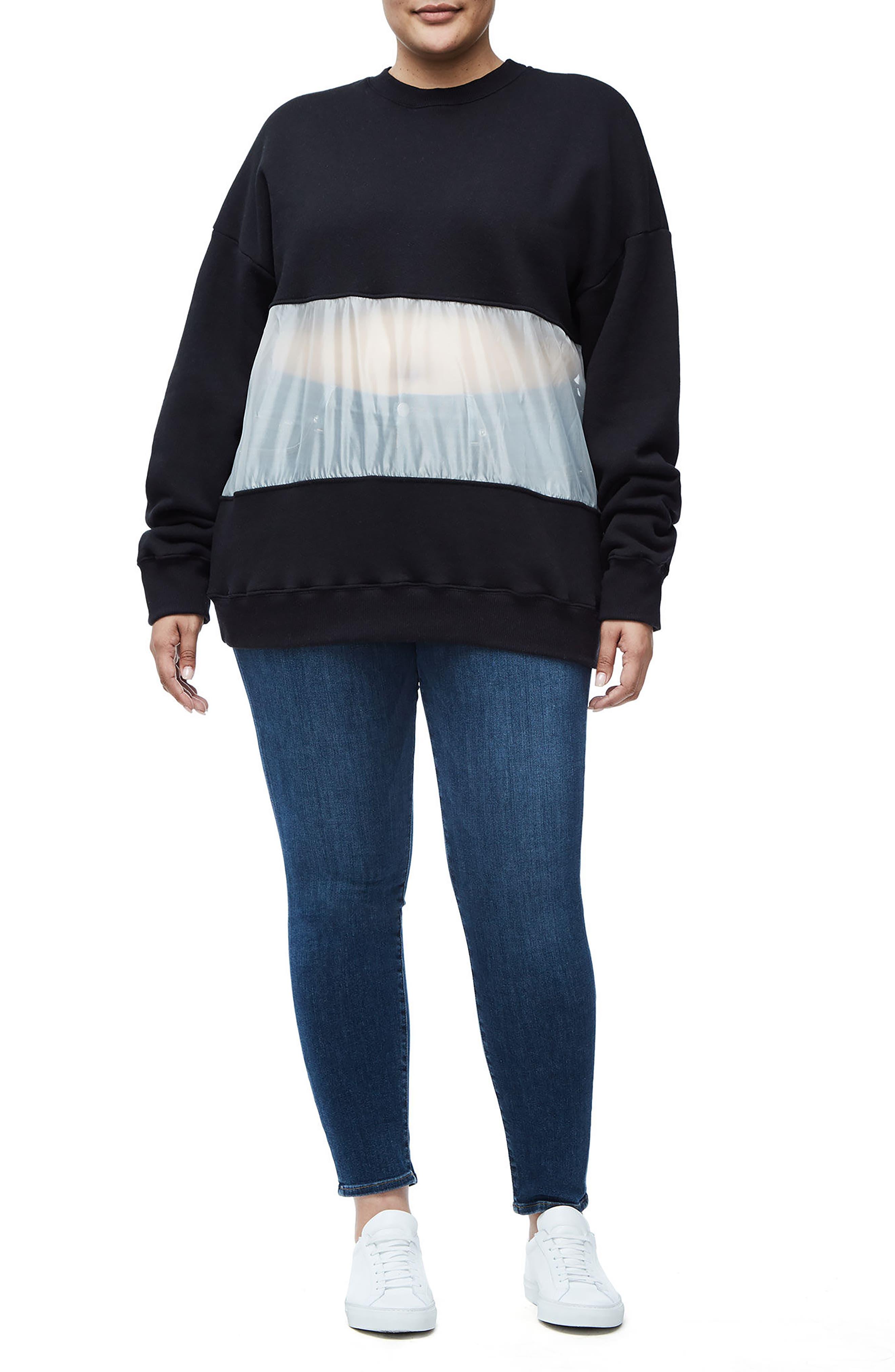 Mixed Media Oversize Sweatshirt,                             Alternate thumbnail 3, color,                             Black001
