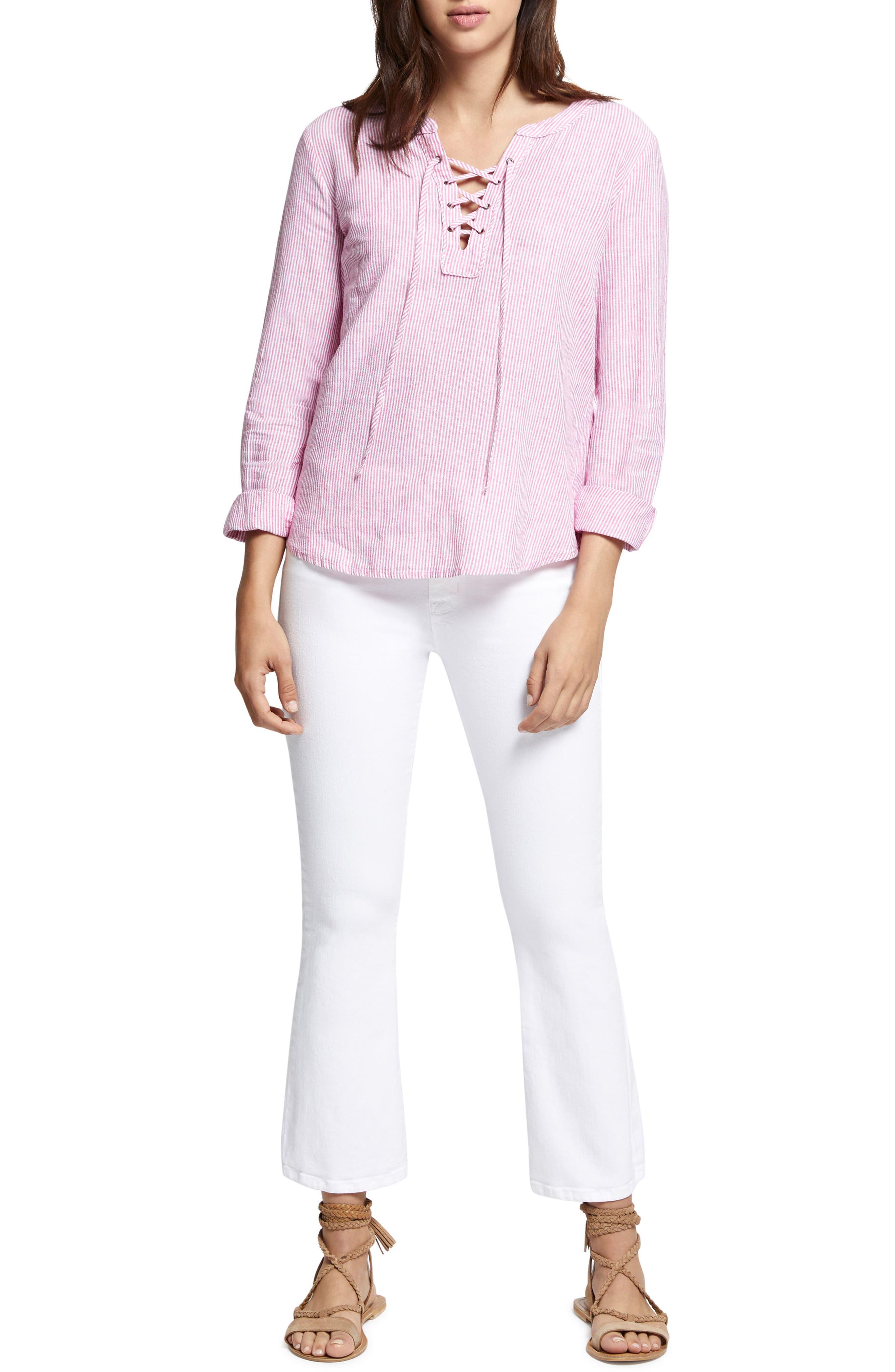 Tommie Lace-Up Stripe Shirt,                             Alternate thumbnail 4, color,                             Wild Cherry Stripe