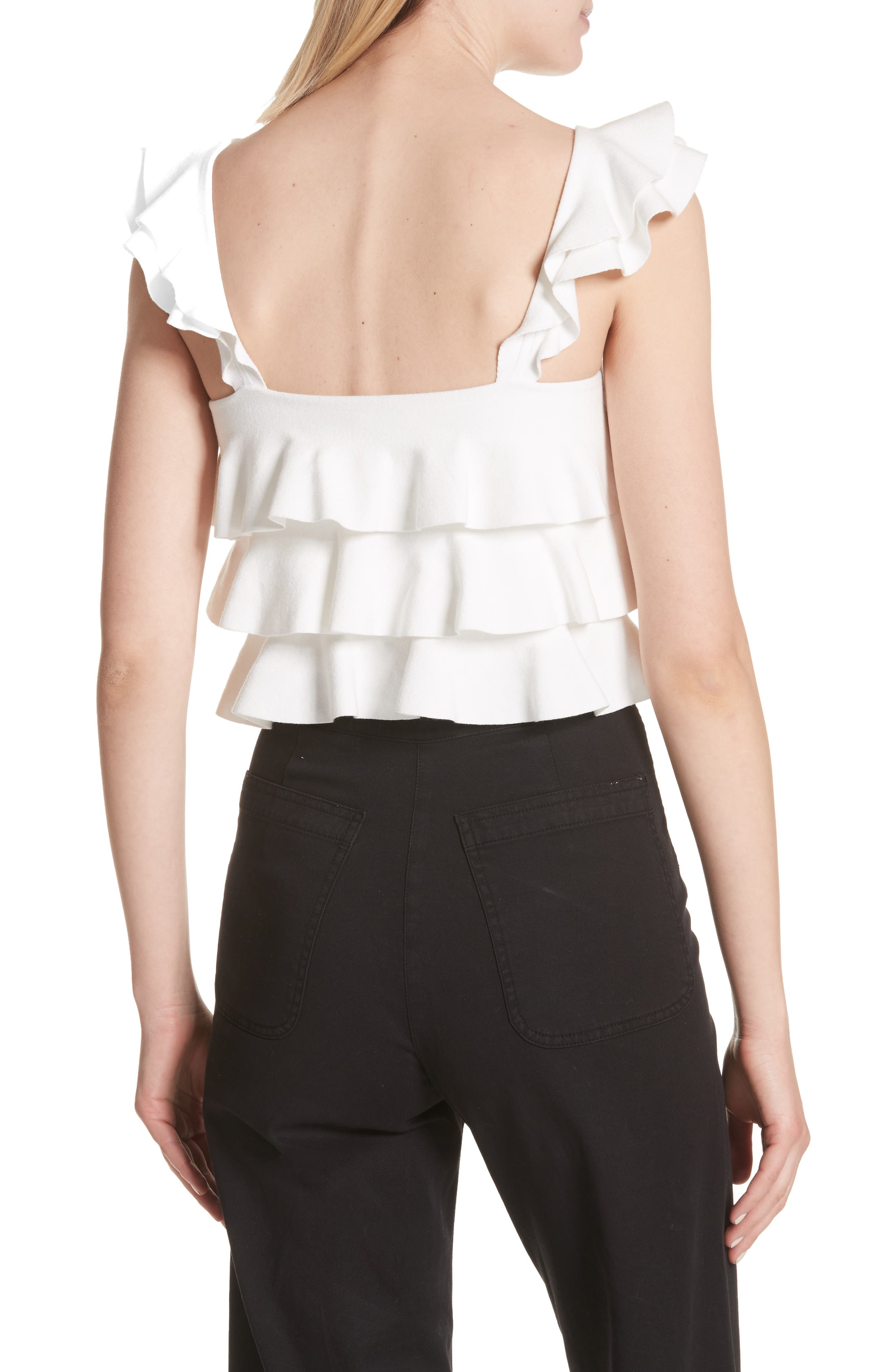 Rowley Ruffle Tank,                             Alternate thumbnail 3, color,                             White