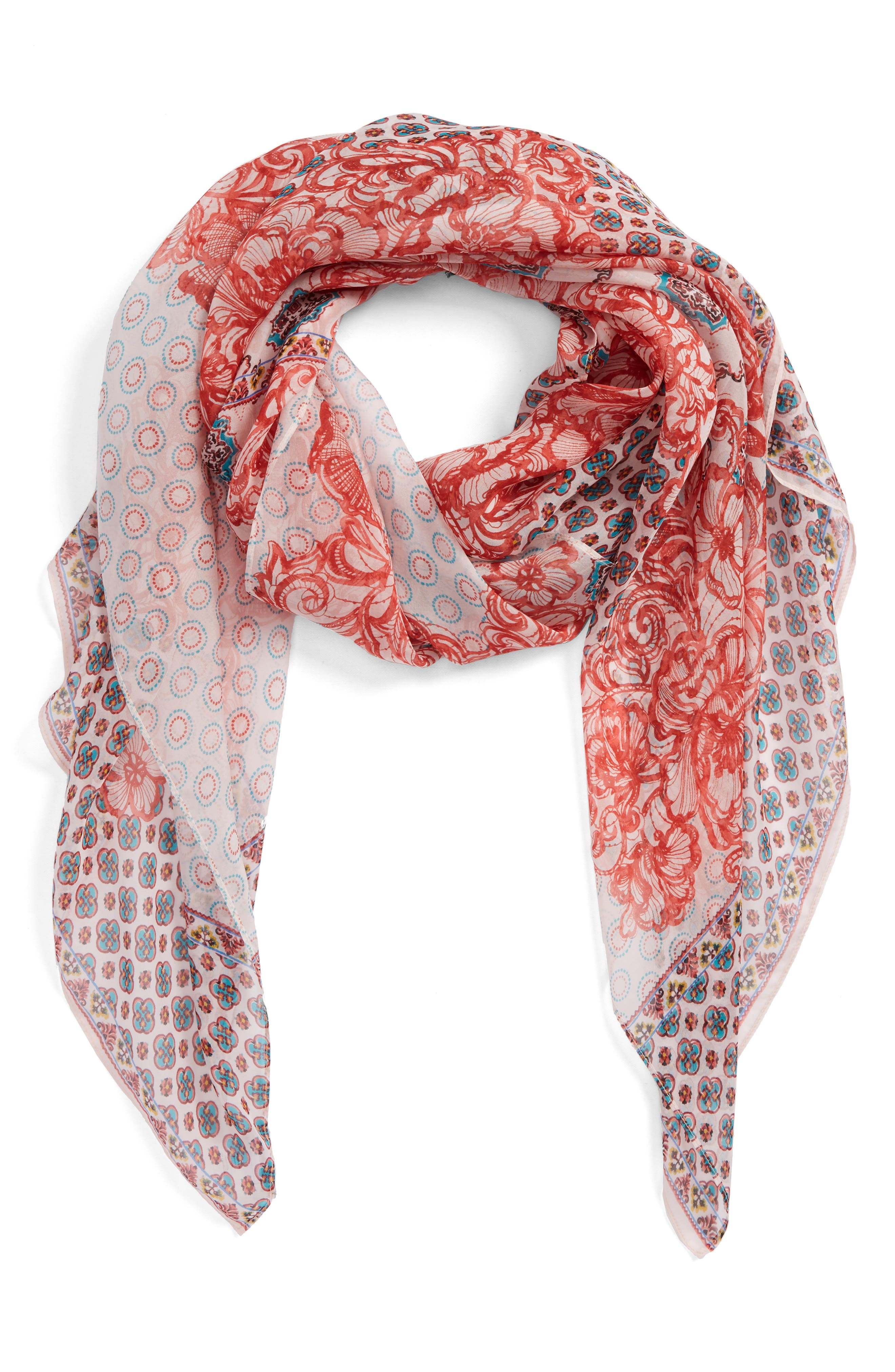 Silk Chiffon Oblong Scarf,                             Main thumbnail 1, color,                             Red Ottoman Lace