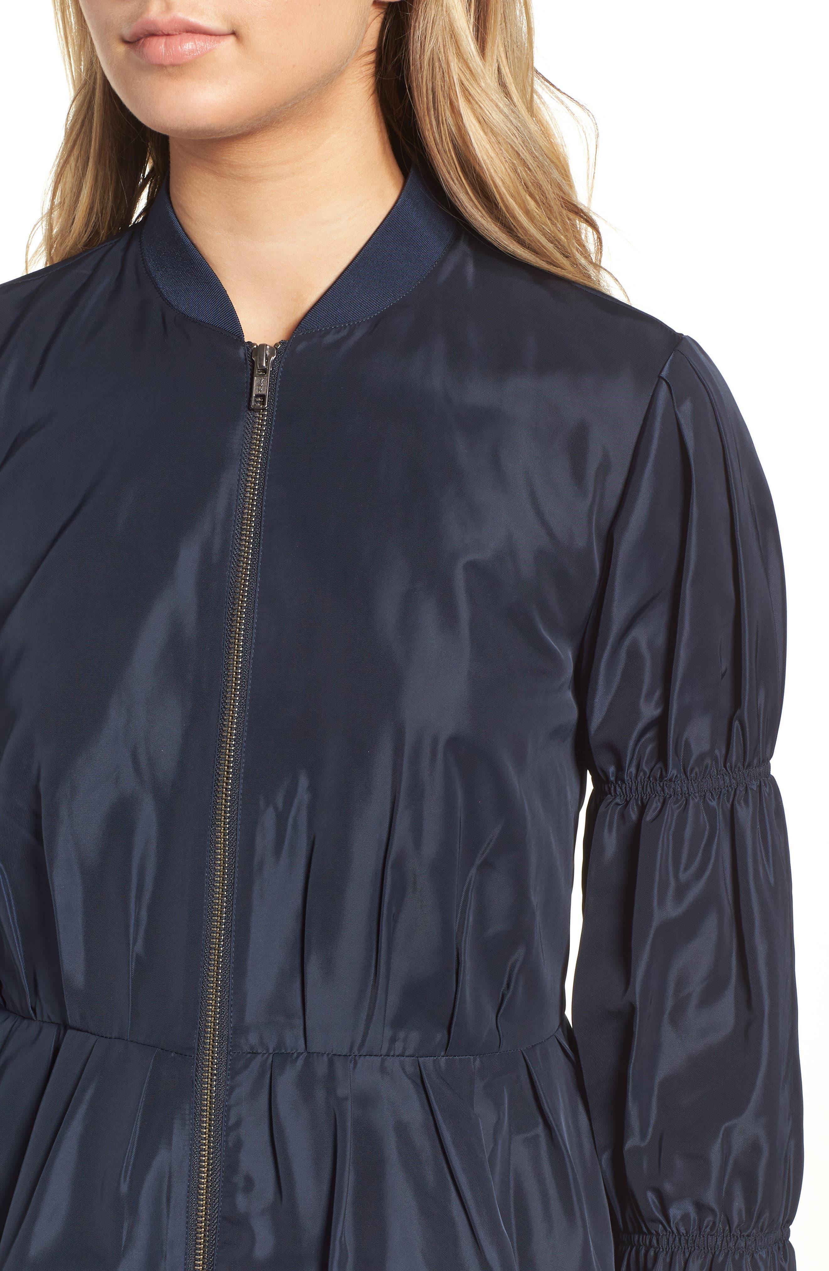 Puff Sleeve Taffeta Crop Jacket,                             Alternate thumbnail 4, color,                             Navy Eclipse