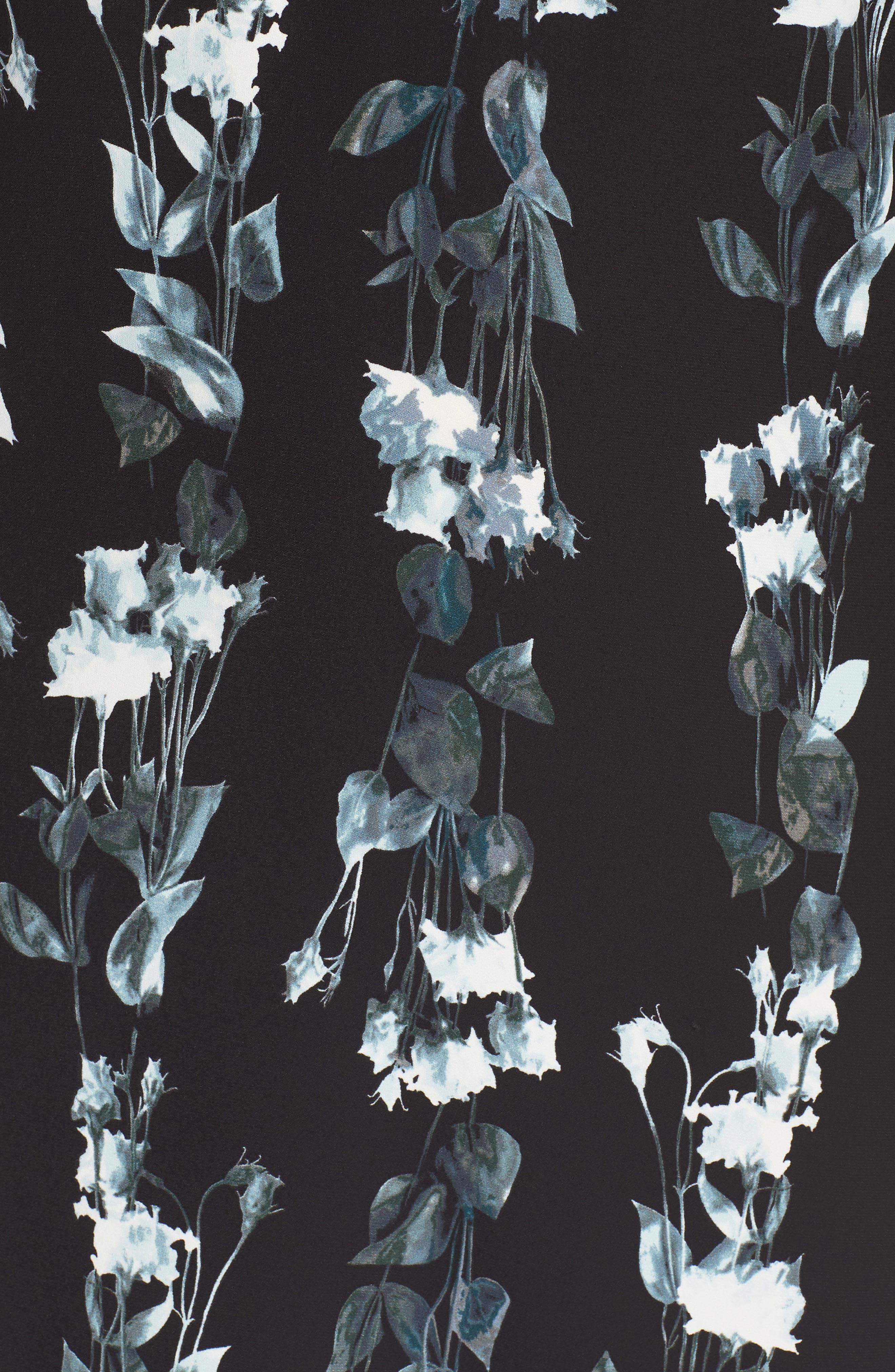 Flutter Sleeve Shift Dress,                             Alternate thumbnail 6, color,                             Black- Blue Vertical Florals