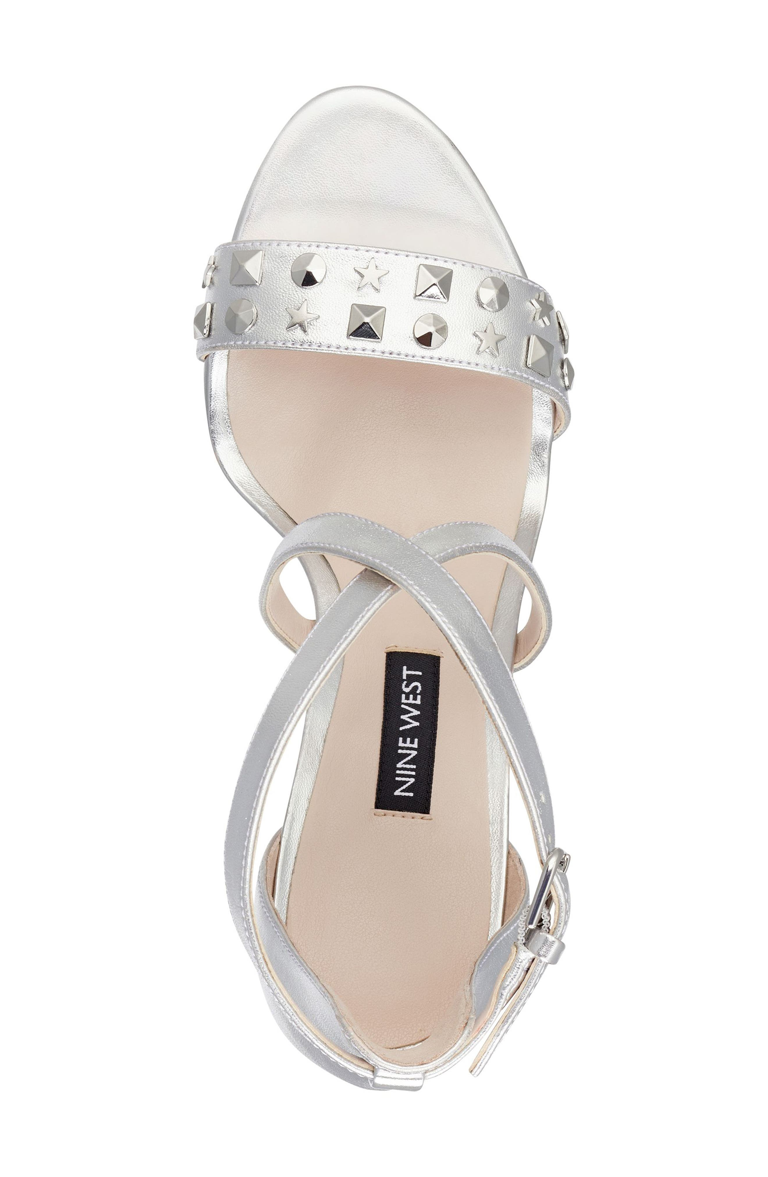 Maziany Studded Sandal,                             Alternate thumbnail 6, color,                             Silver Faux Leather