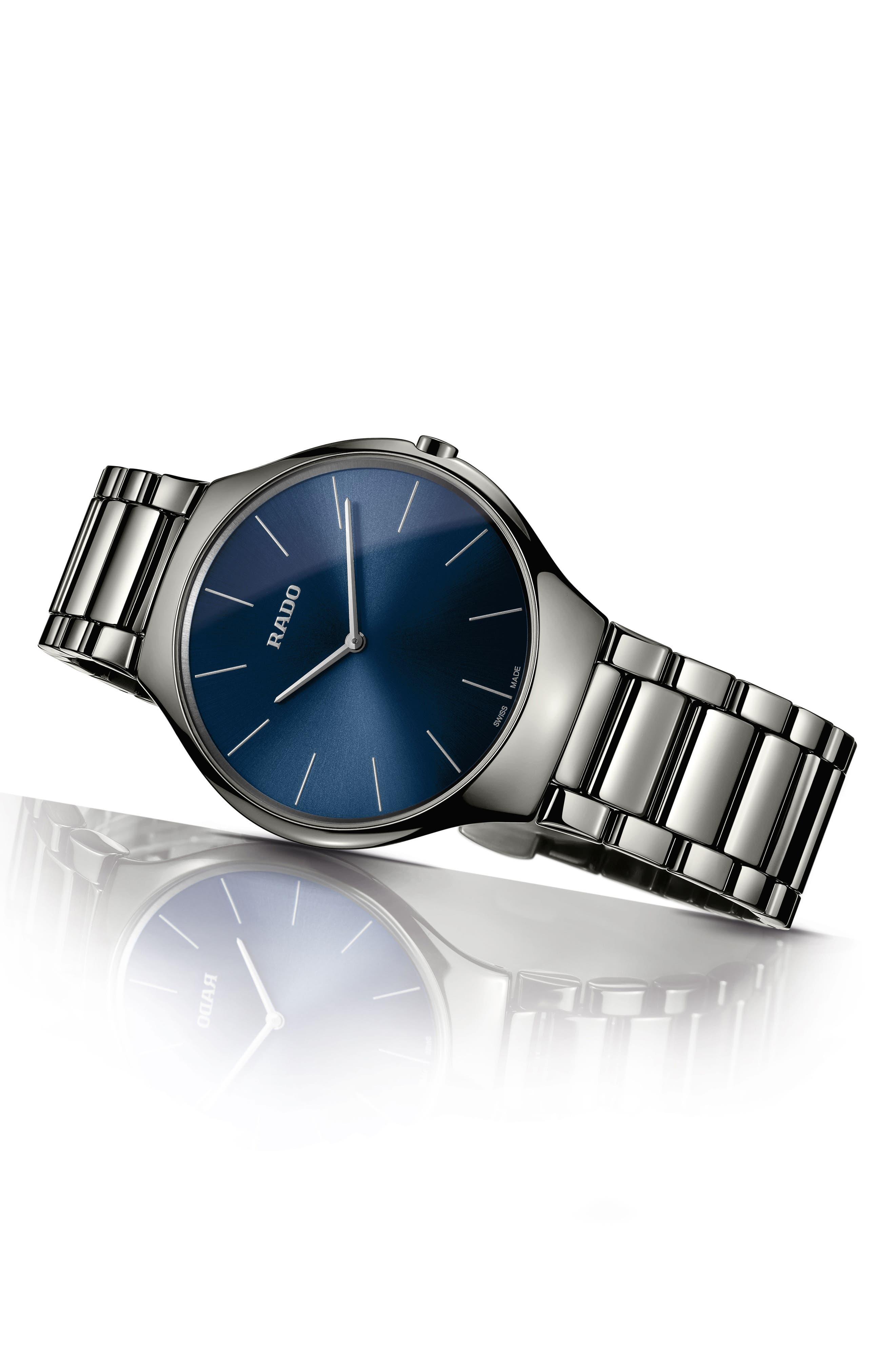 True Thinline Ceramic Bracelet Watch, 39mm,                             Alternate thumbnail 2, color,                             Plasma/ Blue/ Plasma