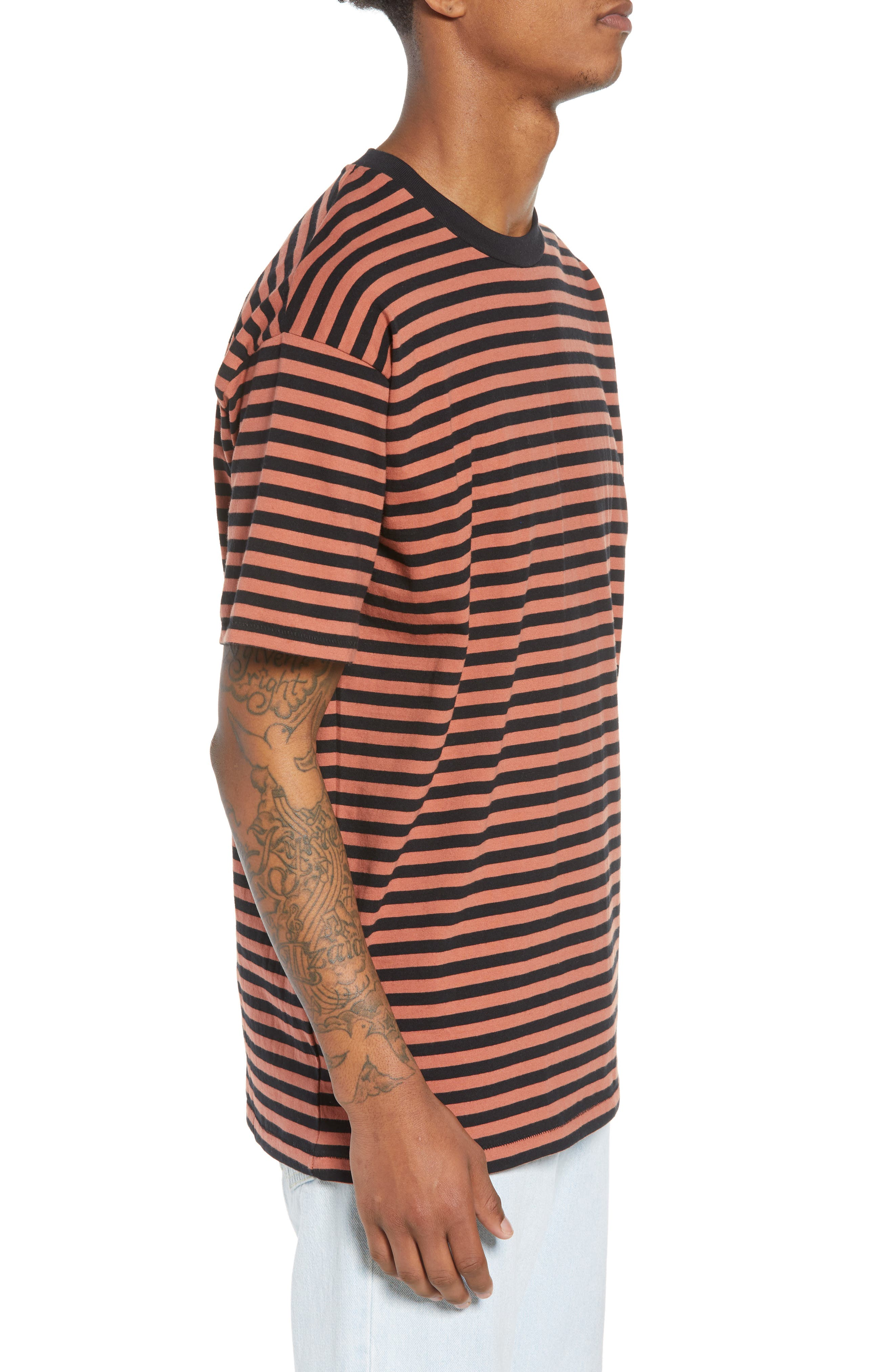 ZABEROBE Stripe Box T-Shirt,                             Alternate thumbnail 3, color,                             Bronze/ Black