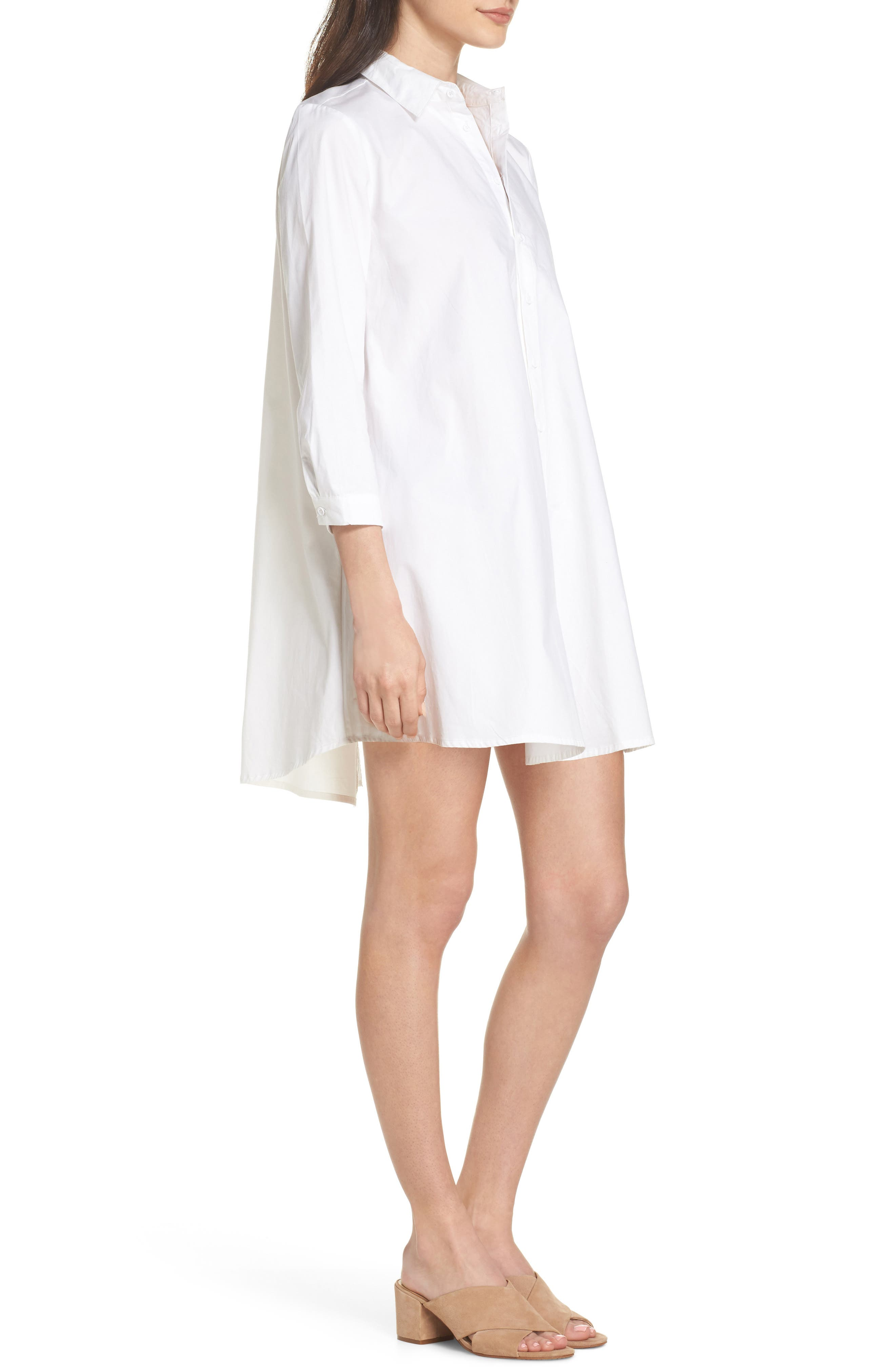 Colt Cotton Poplin Shirtdress,                             Alternate thumbnail 3, color,                             Optic White